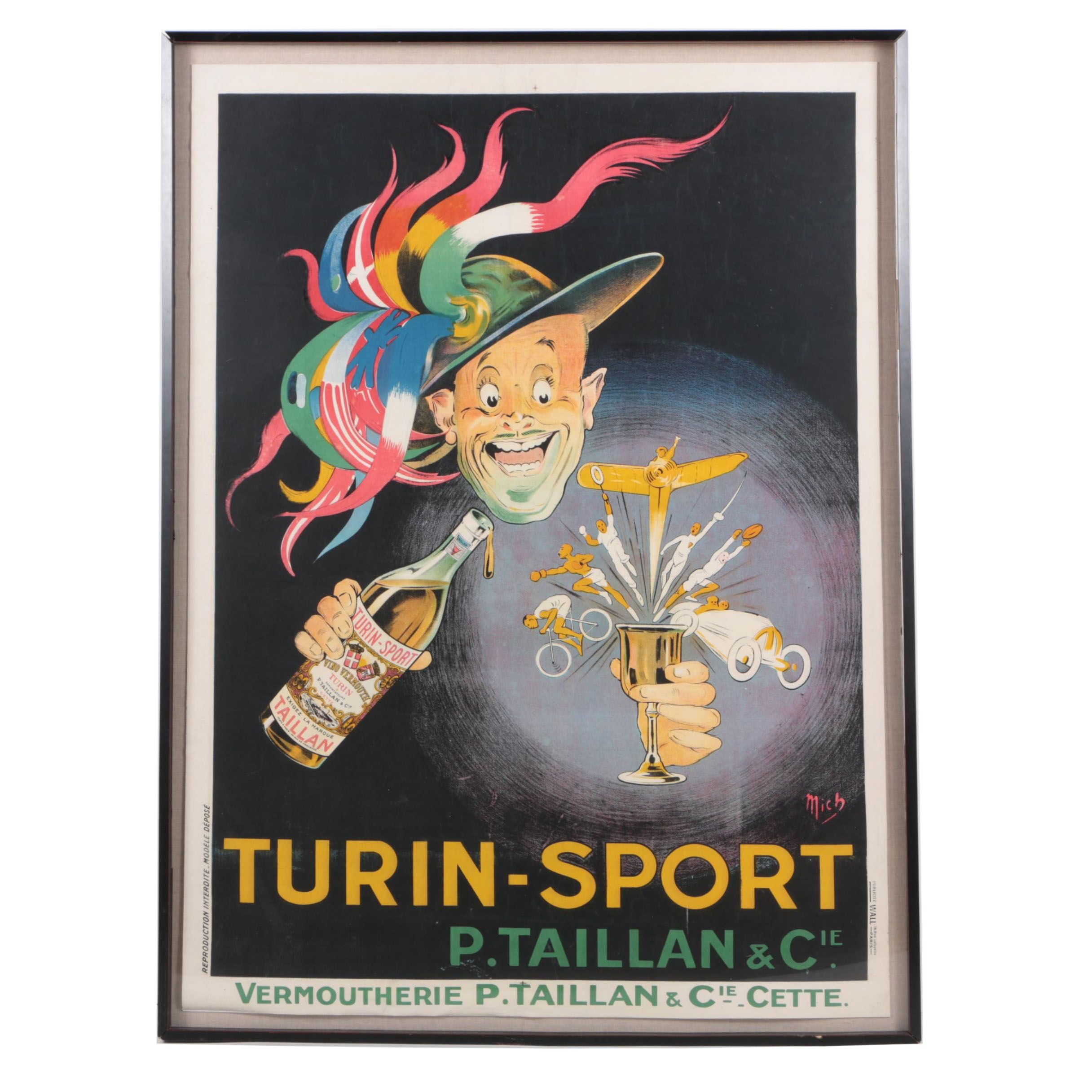 Circa 1920s Lithograph Poster on Paper for Turin-Sport Vermouth After Mich