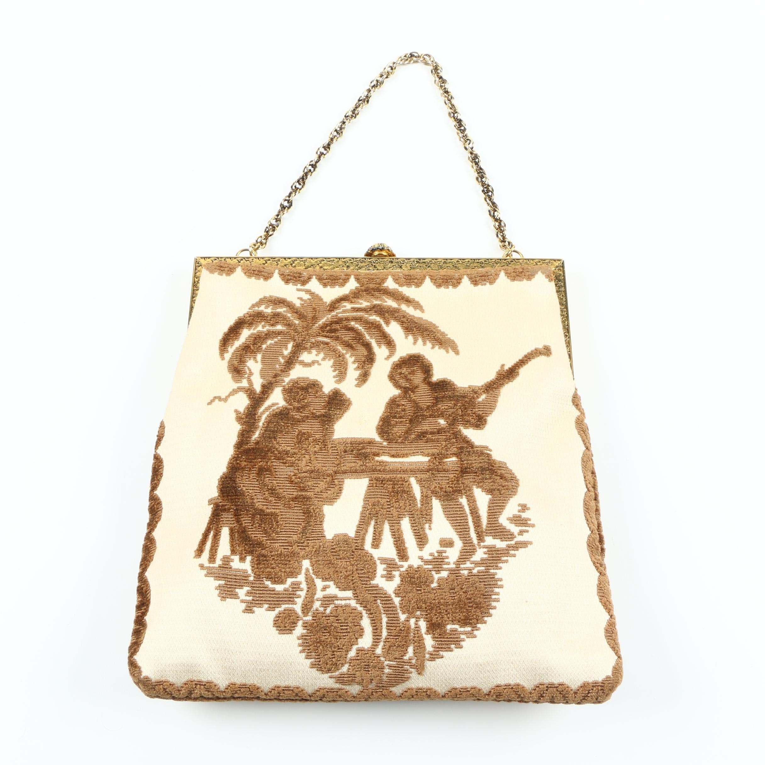 Vintage Delill Tapestry Style Frame Purse