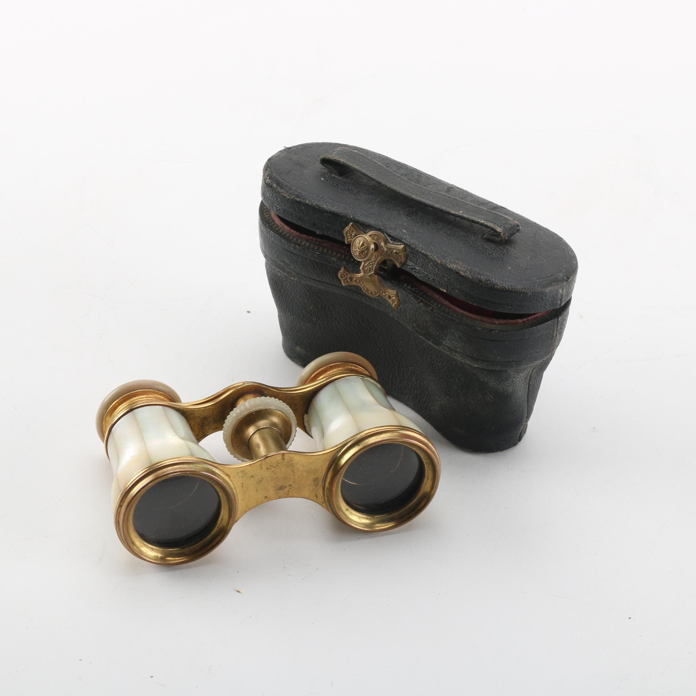 Mother of Pearl Opera Glasses with Leather Case