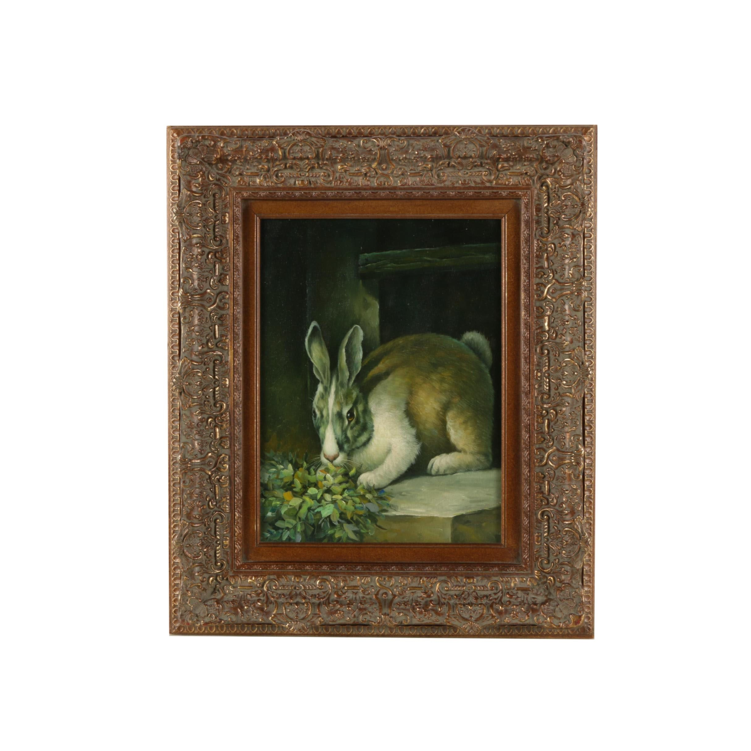 Oil Painting on Canvas of a Rabbit