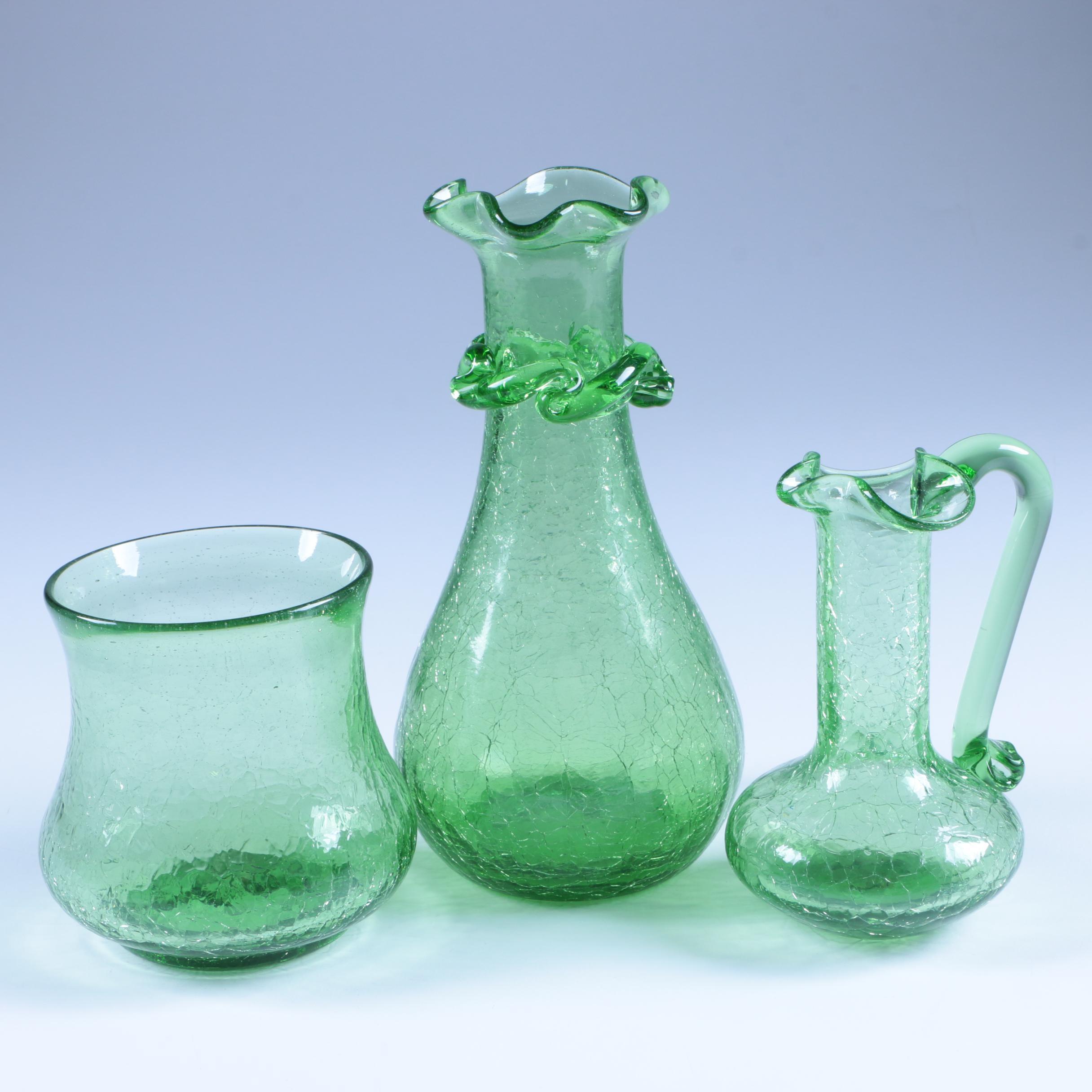 Hand Blown Green Glass Serveware