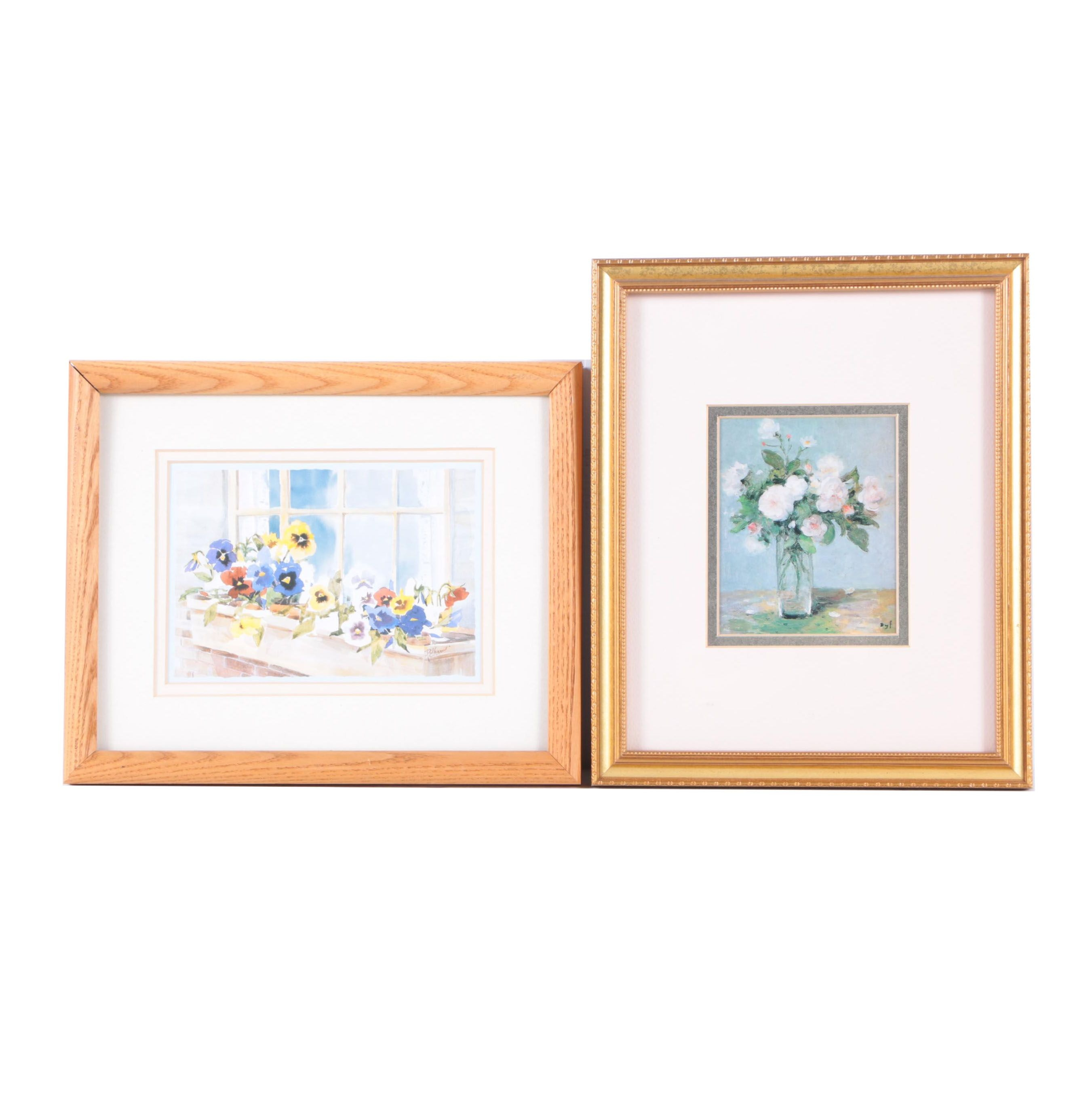 Offset Lithographs on Paper of Flowers Featuring Marcel Dyf