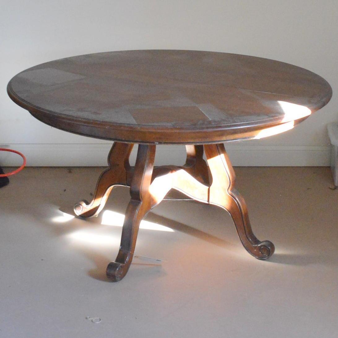 Vintage Round Walnut Dining Table