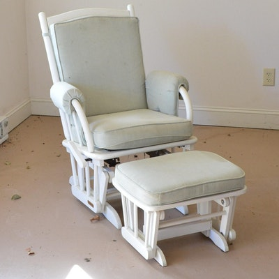 Wooden Glider with Cushions and Ottoman by Shermag. Vintage Baby Furniture Auction   Antique Nursery Furniture   EBTH