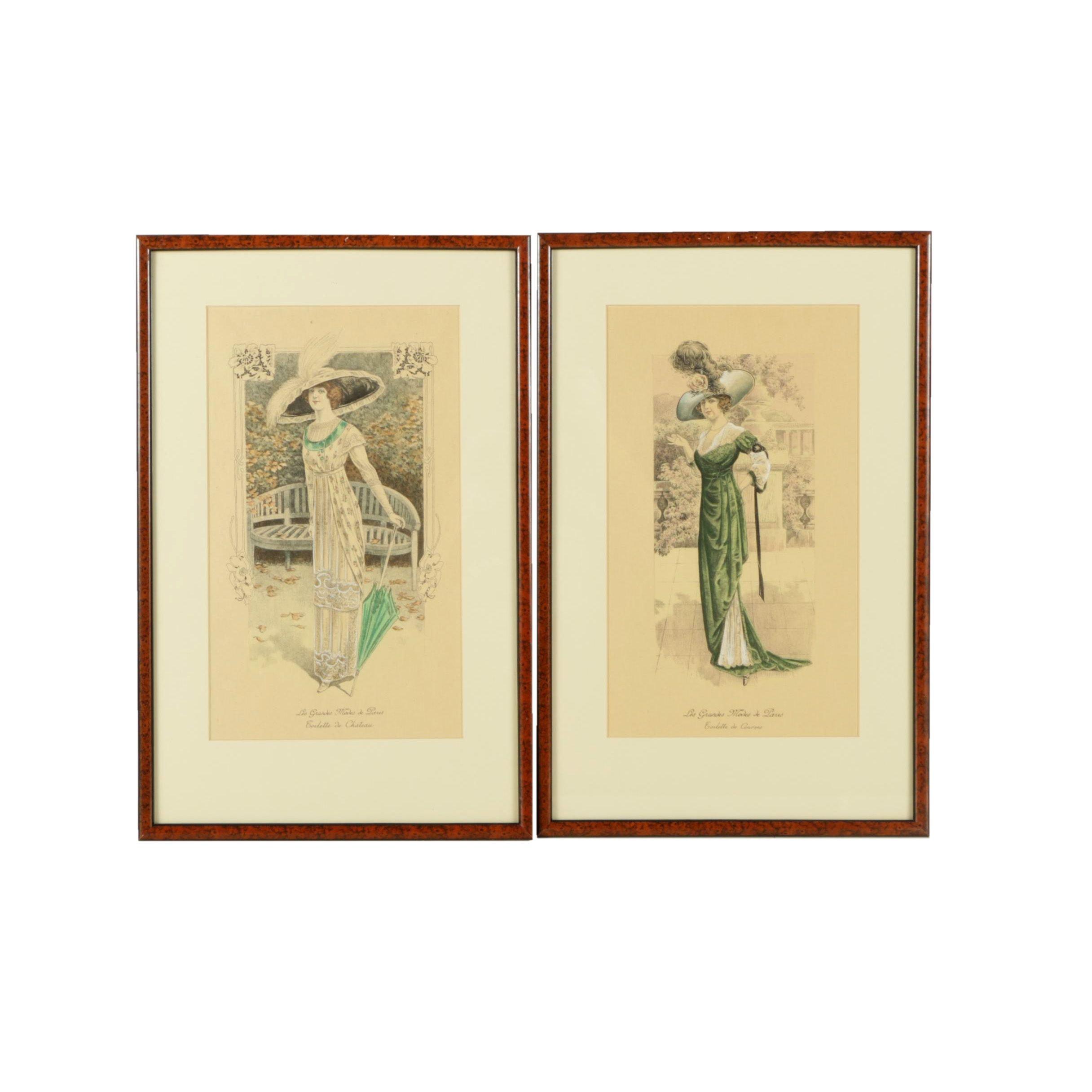 """Collection of Hand Colored Lithographs on Paper """"Les Grandes Modes de Paris"""""""