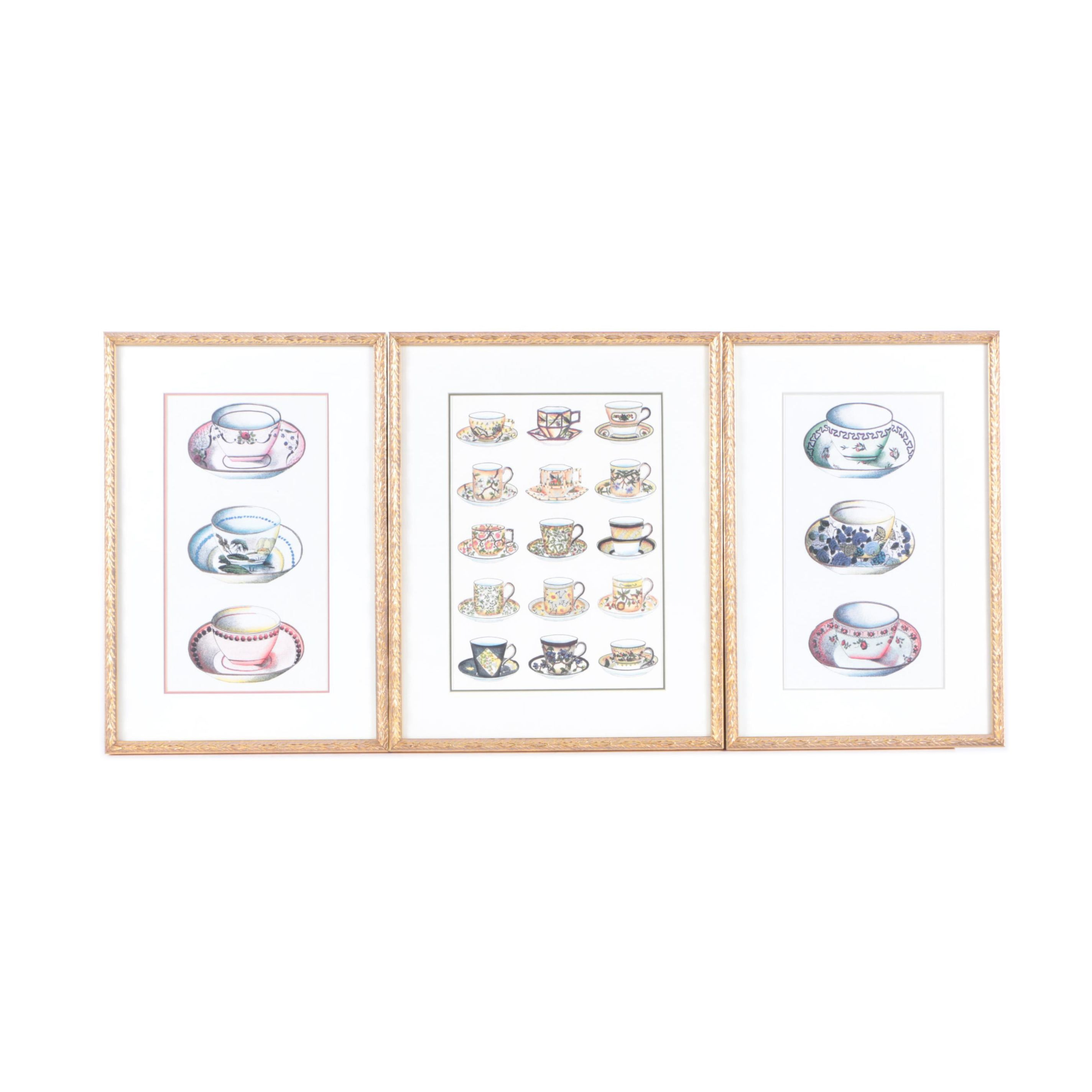 Offset Lithographs on Paper of Teacups