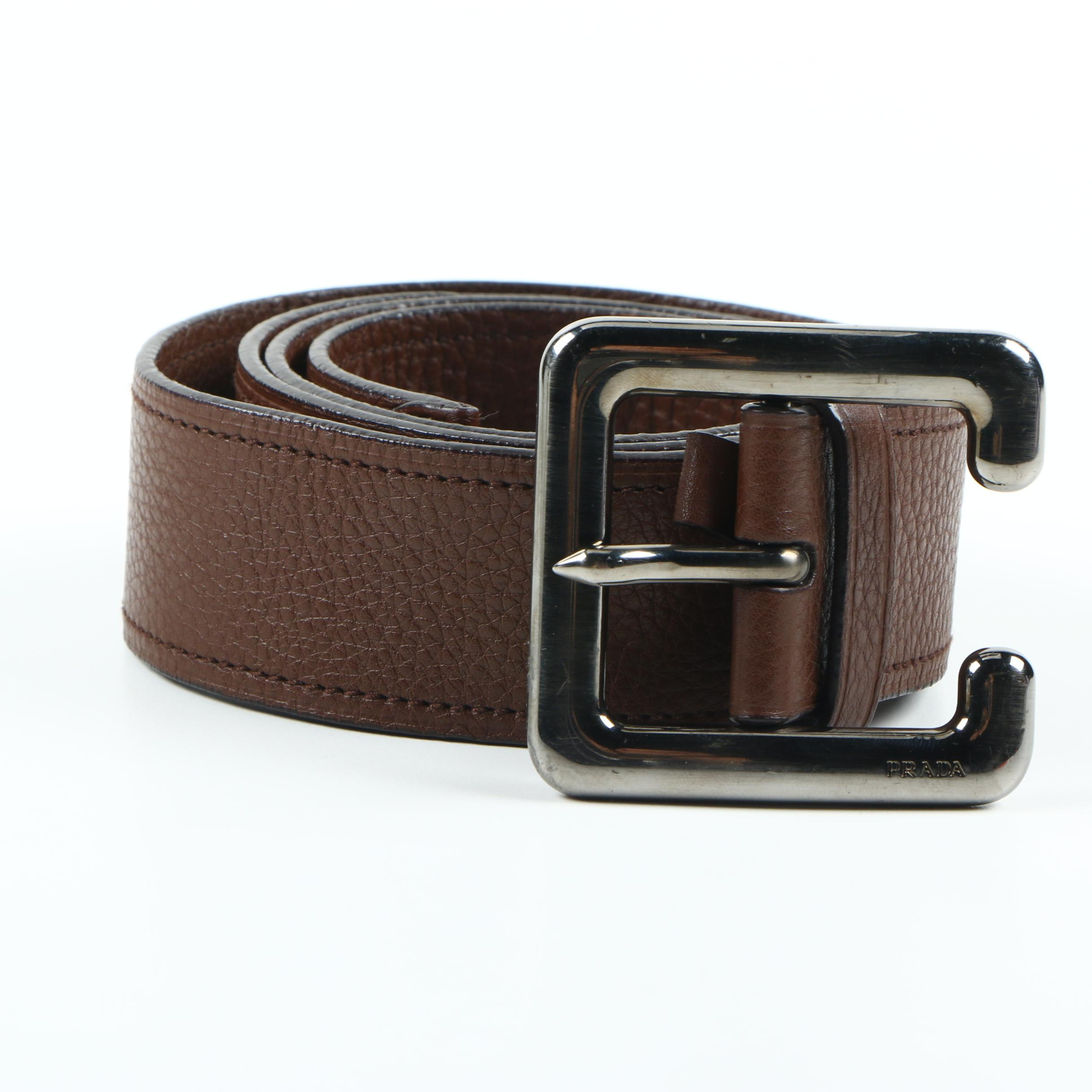 Women's Prada Brown Leather Belt