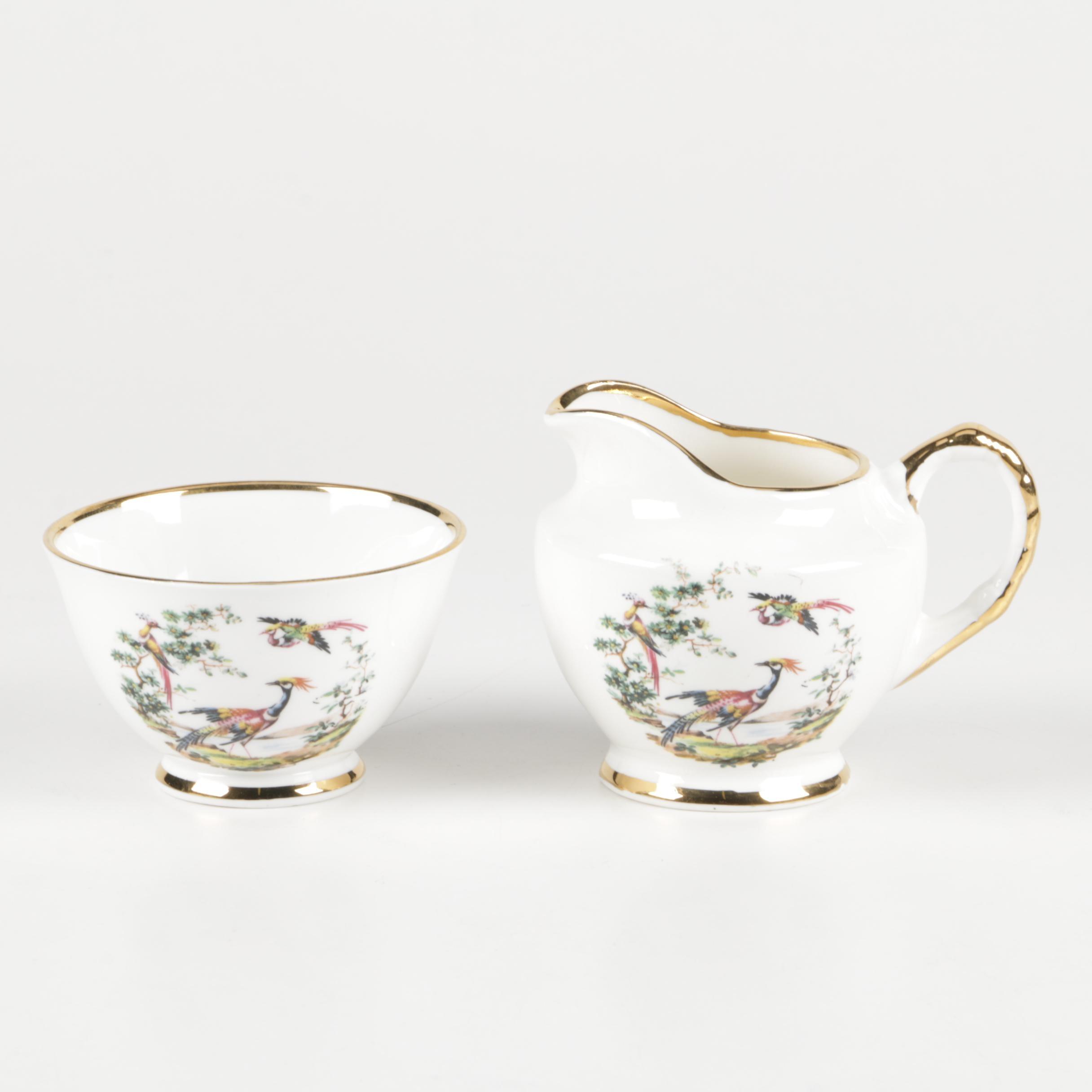 Royal Ardalt Creamer and Sugar Bowl with Birds