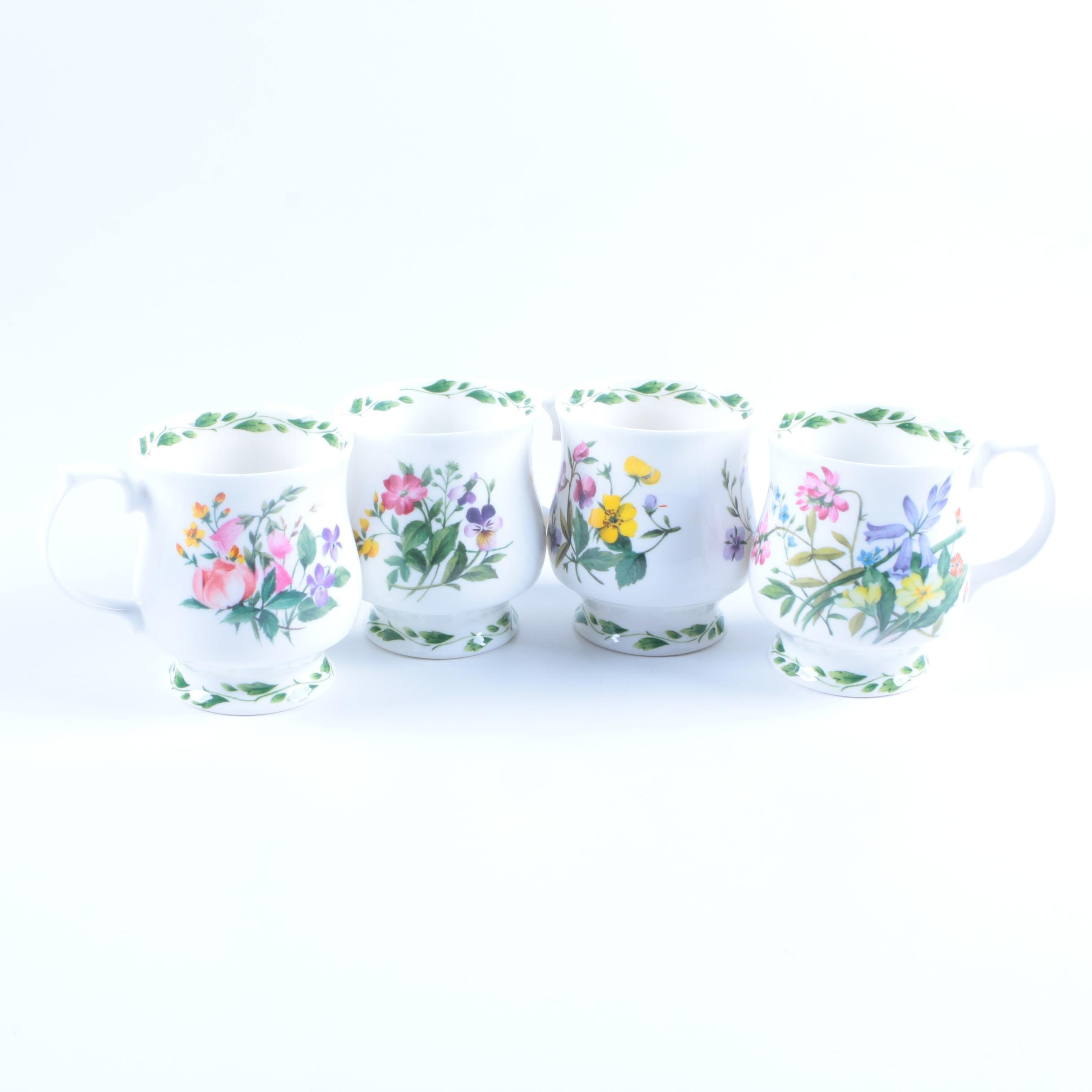 "Rosina-Queen's ""The Garden'"" Footed Mugs by Lilian Snelling"