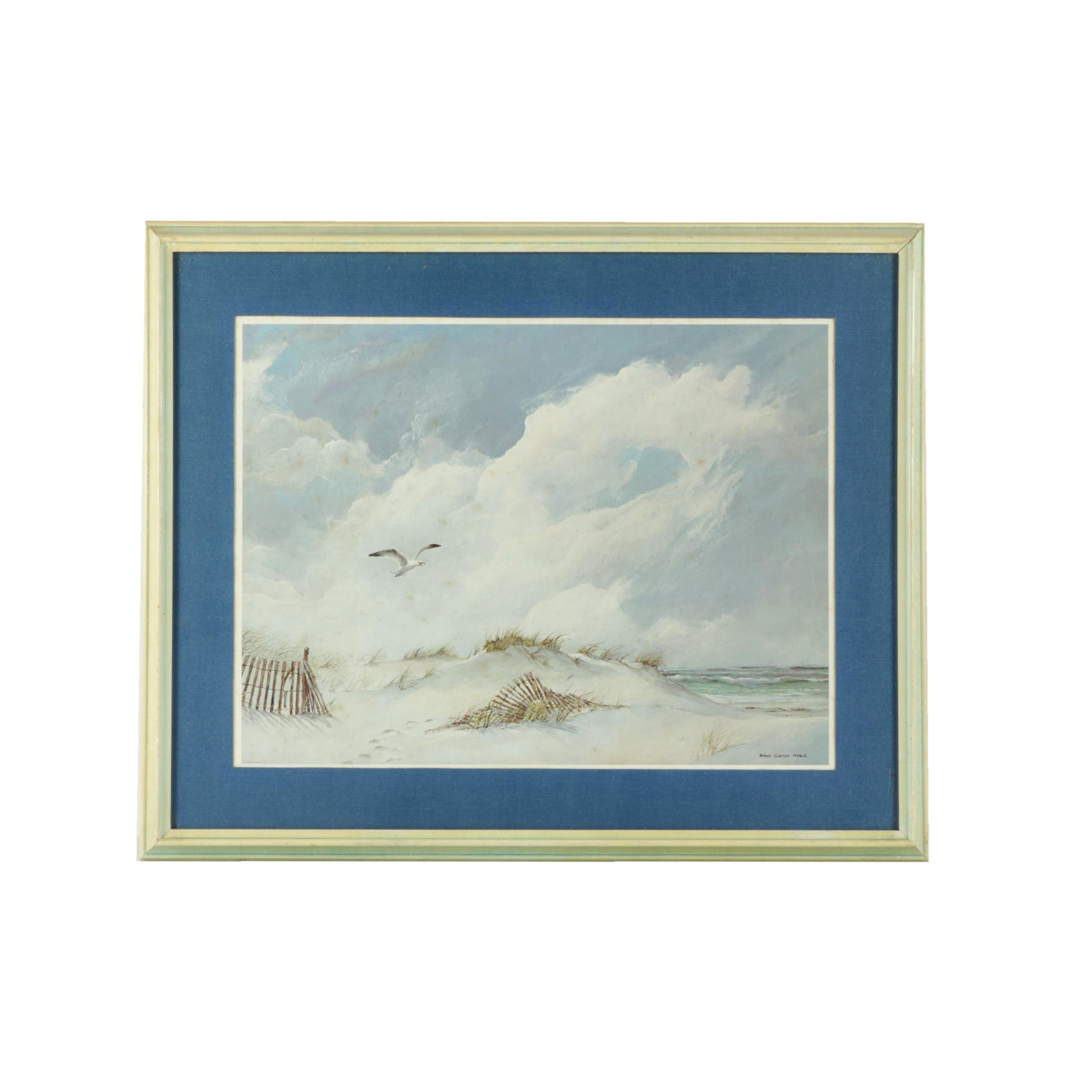 Offset Lithograph on Paper After Dana Gibson Noble of Winter Beach Scene