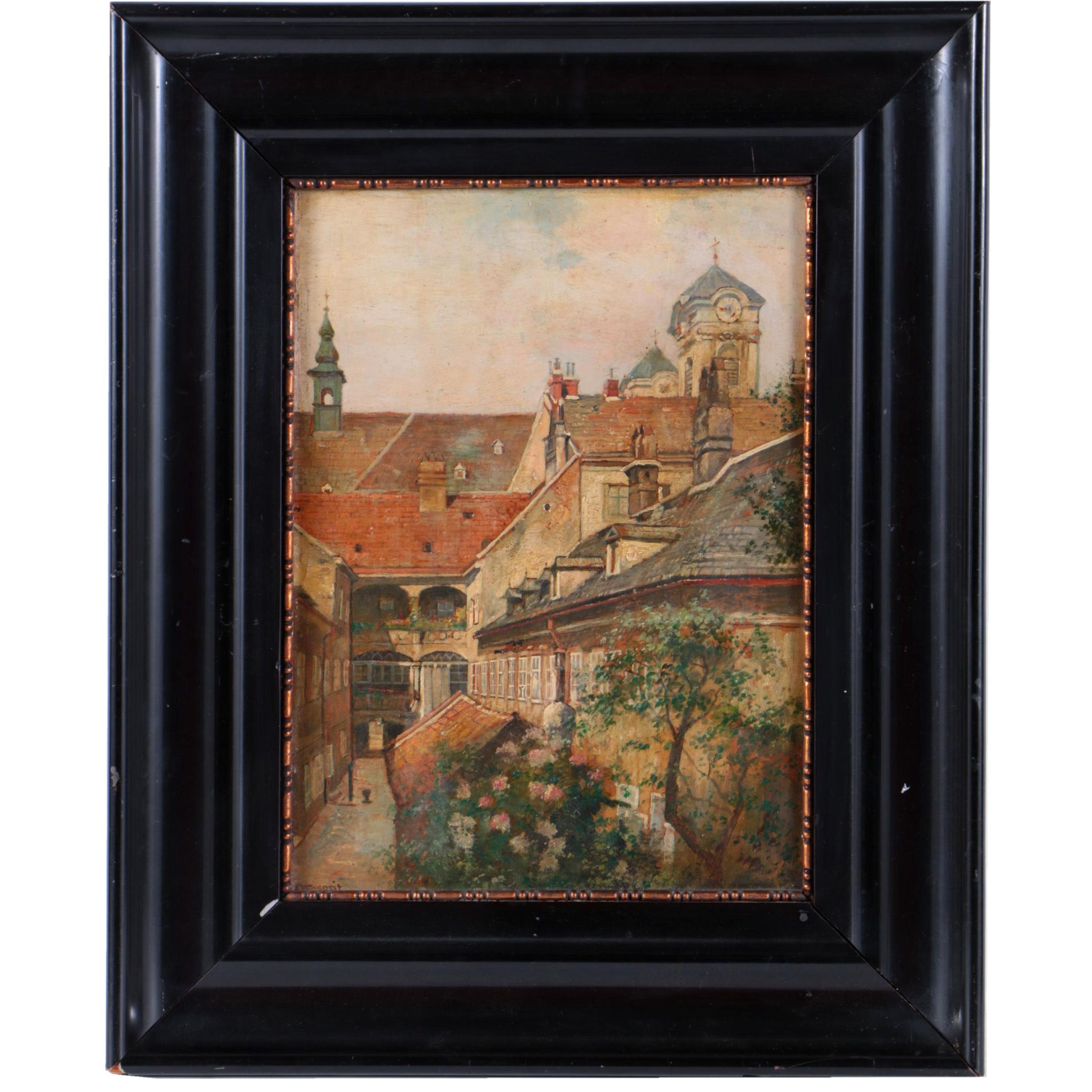 Oil Painting of European Courtyard