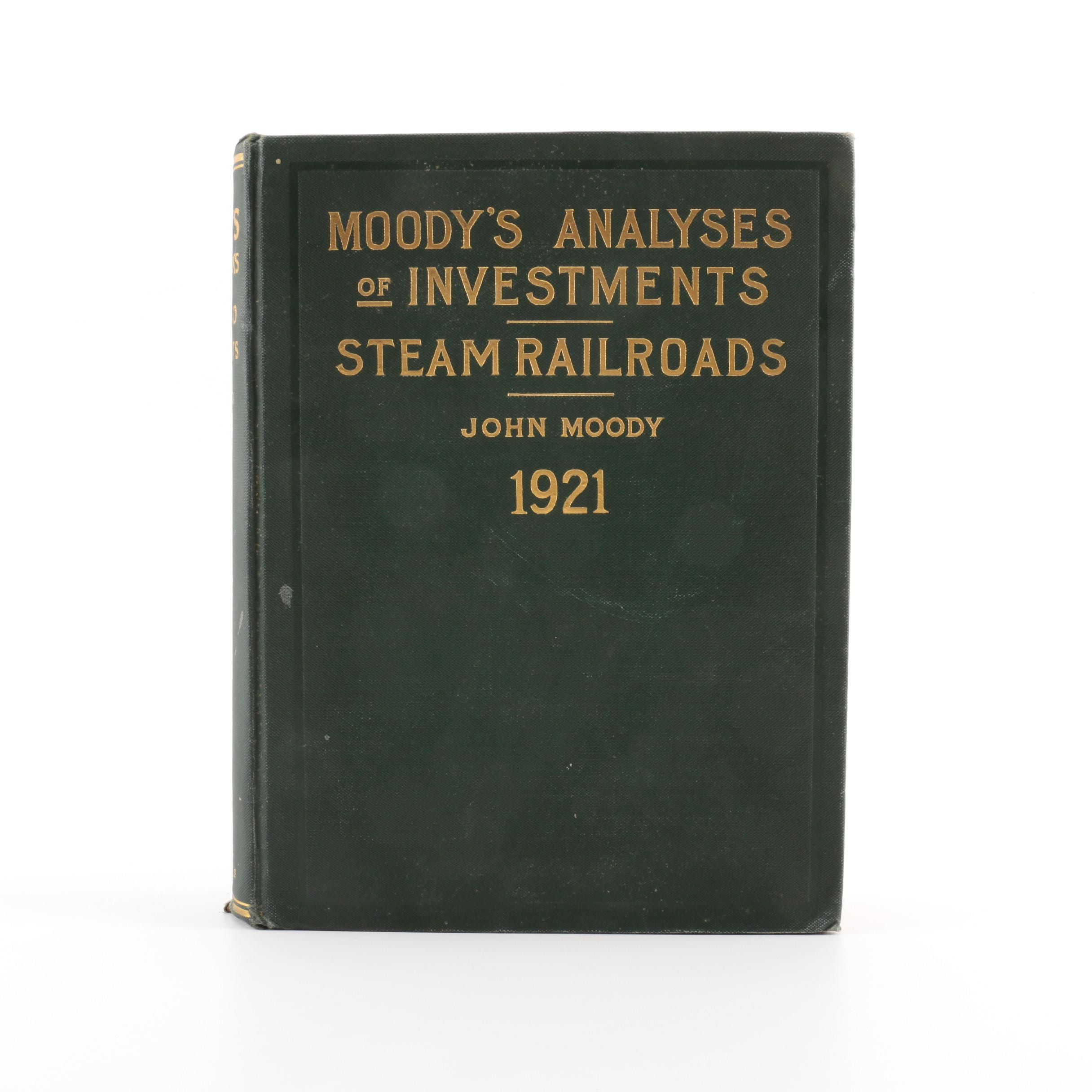 "1921 ""Analyses of Investments and Security Rating Books"" by John Moody"