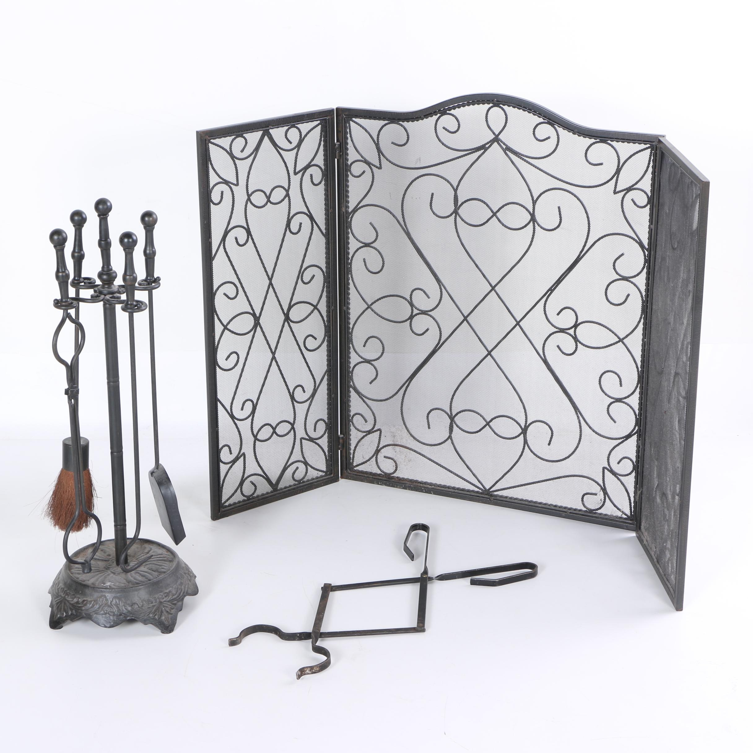 Collection of Metal Fireplace Accessories