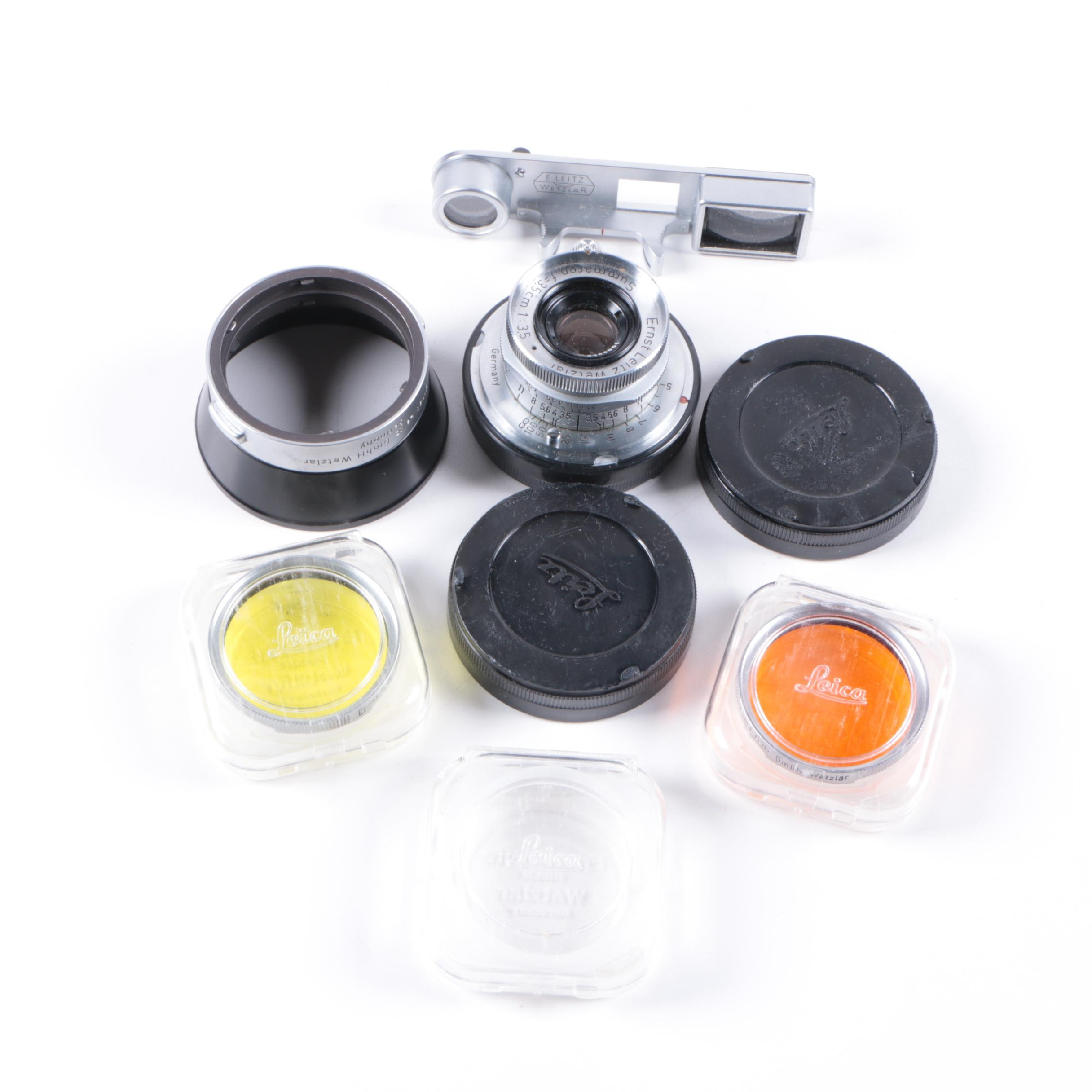 Collection of Leica Camera Lenses and Parts