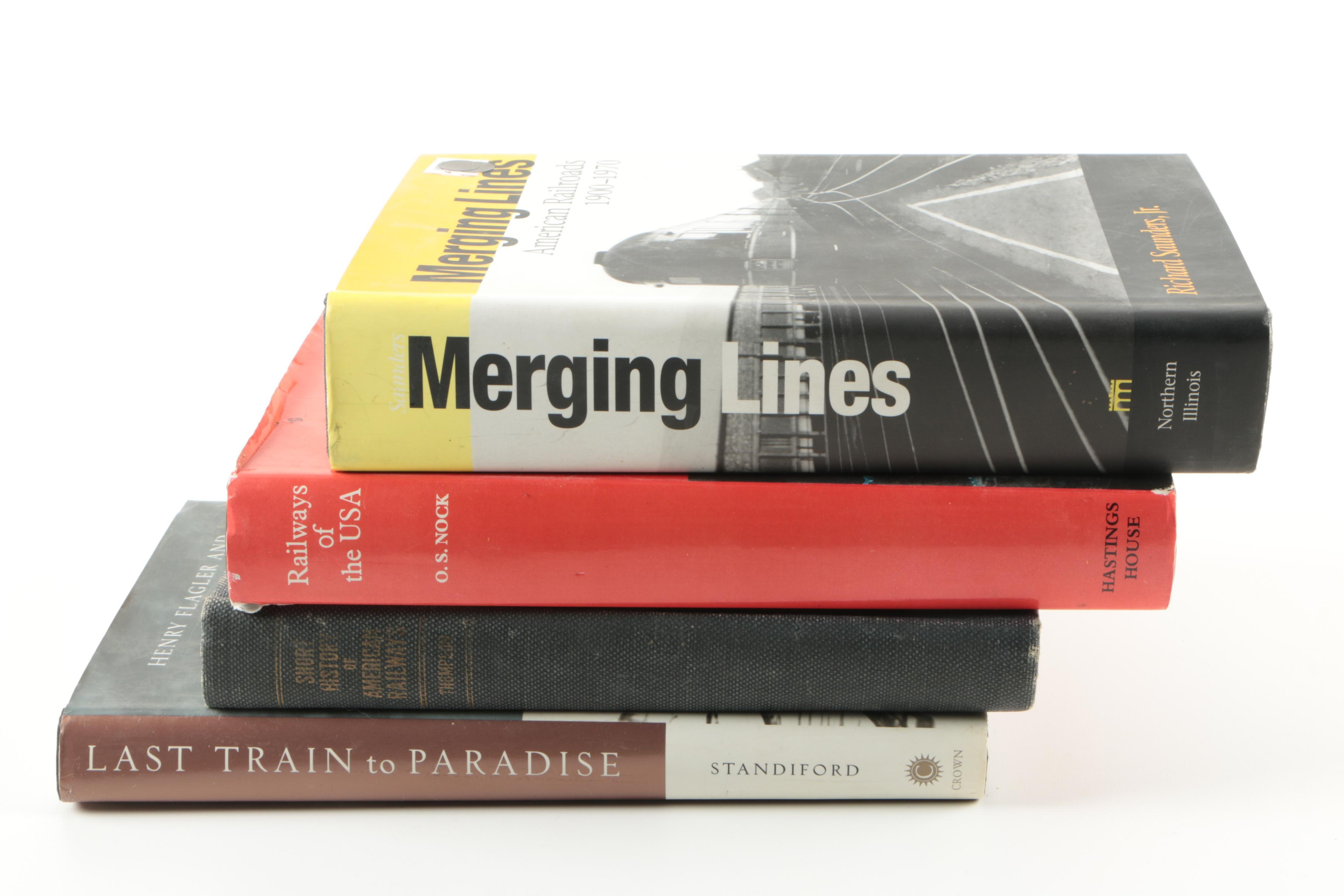 Assorted Hardcover Non-Fiction Books on Trains