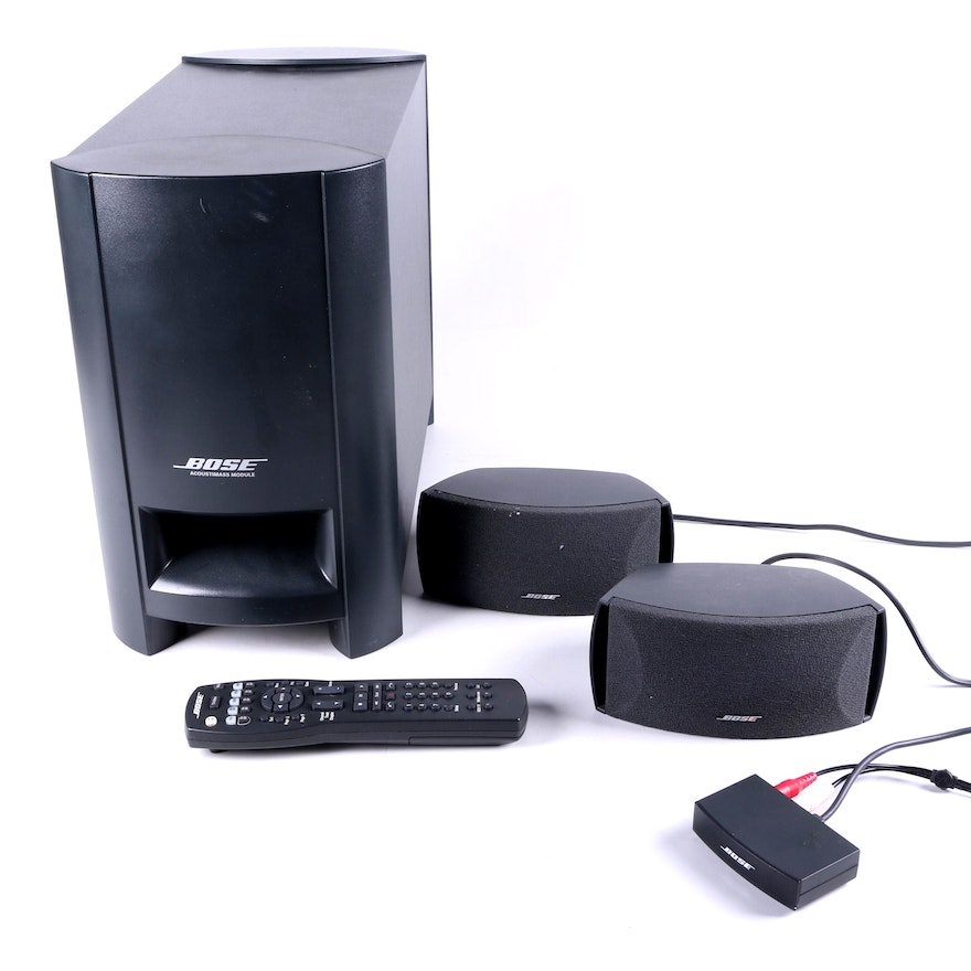 bose acoustimass module with speakers and remote ebth. Black Bedroom Furniture Sets. Home Design Ideas
