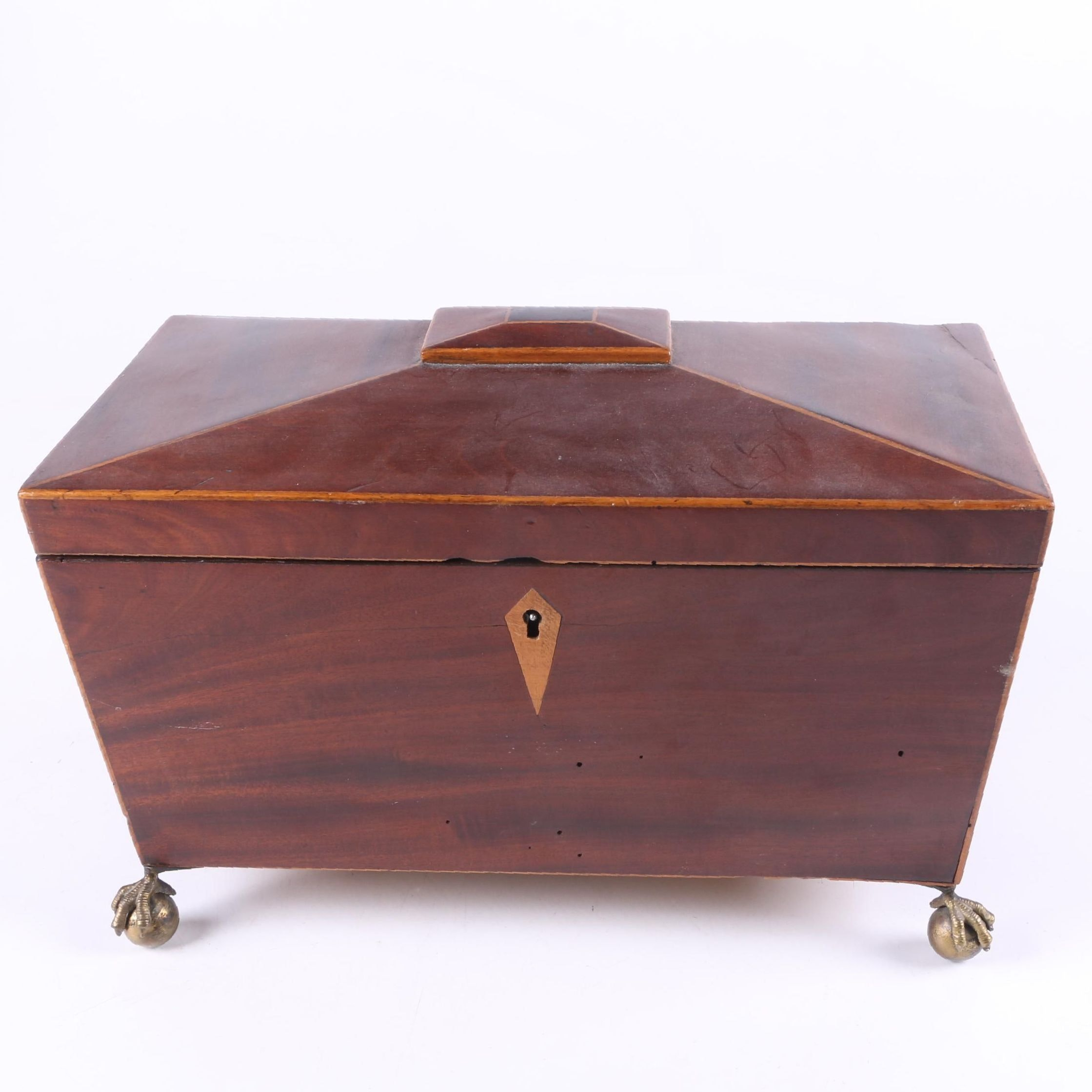 Antique Sarcophagus Wooden Tea Caddy