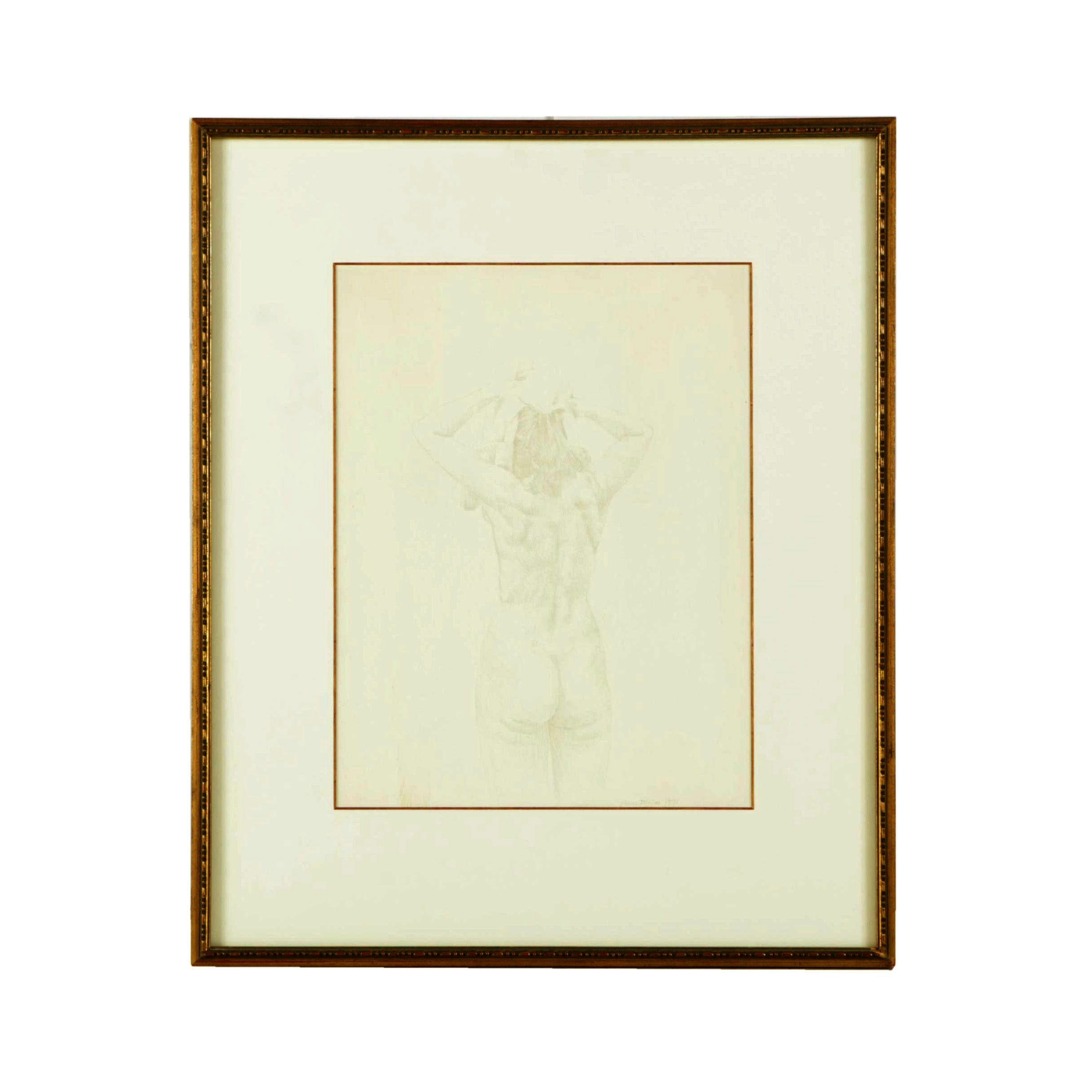 James Morton Ink Drawing of a Figure Study