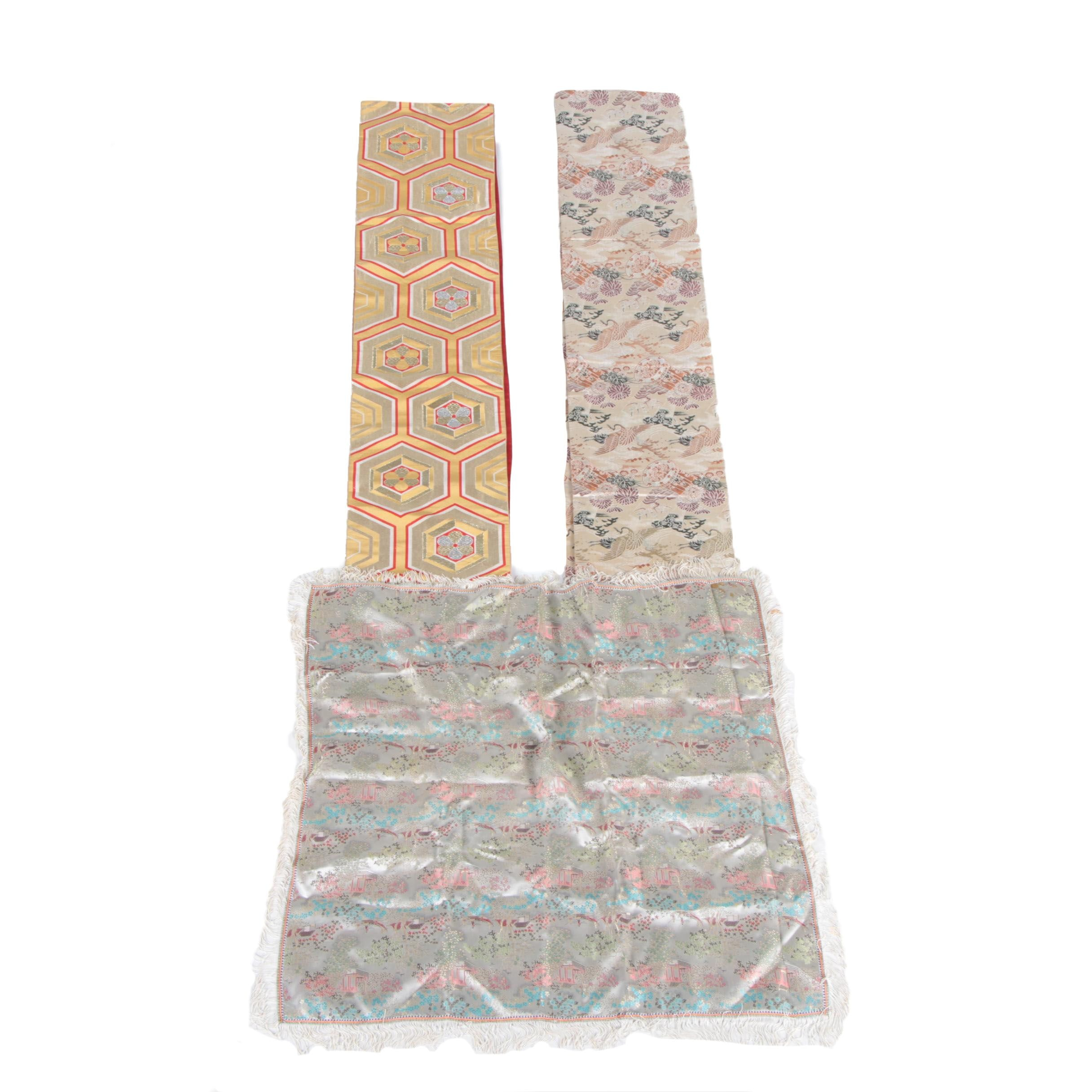 Embroidered Asian Influenced Silk Decorative Textiles