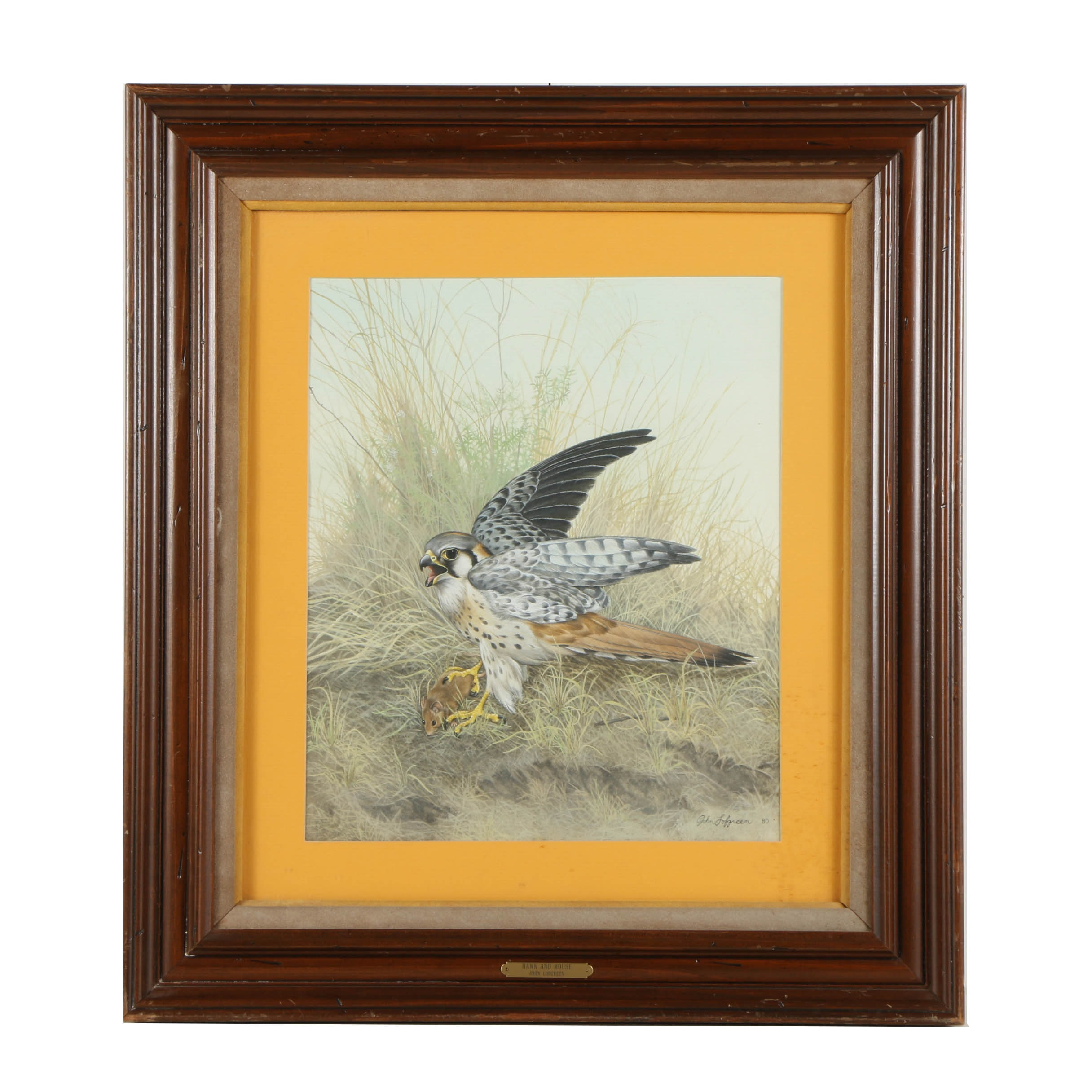 """John Lofgreen Lithograph Print on Paper """"Hawk and Mouse"""""""