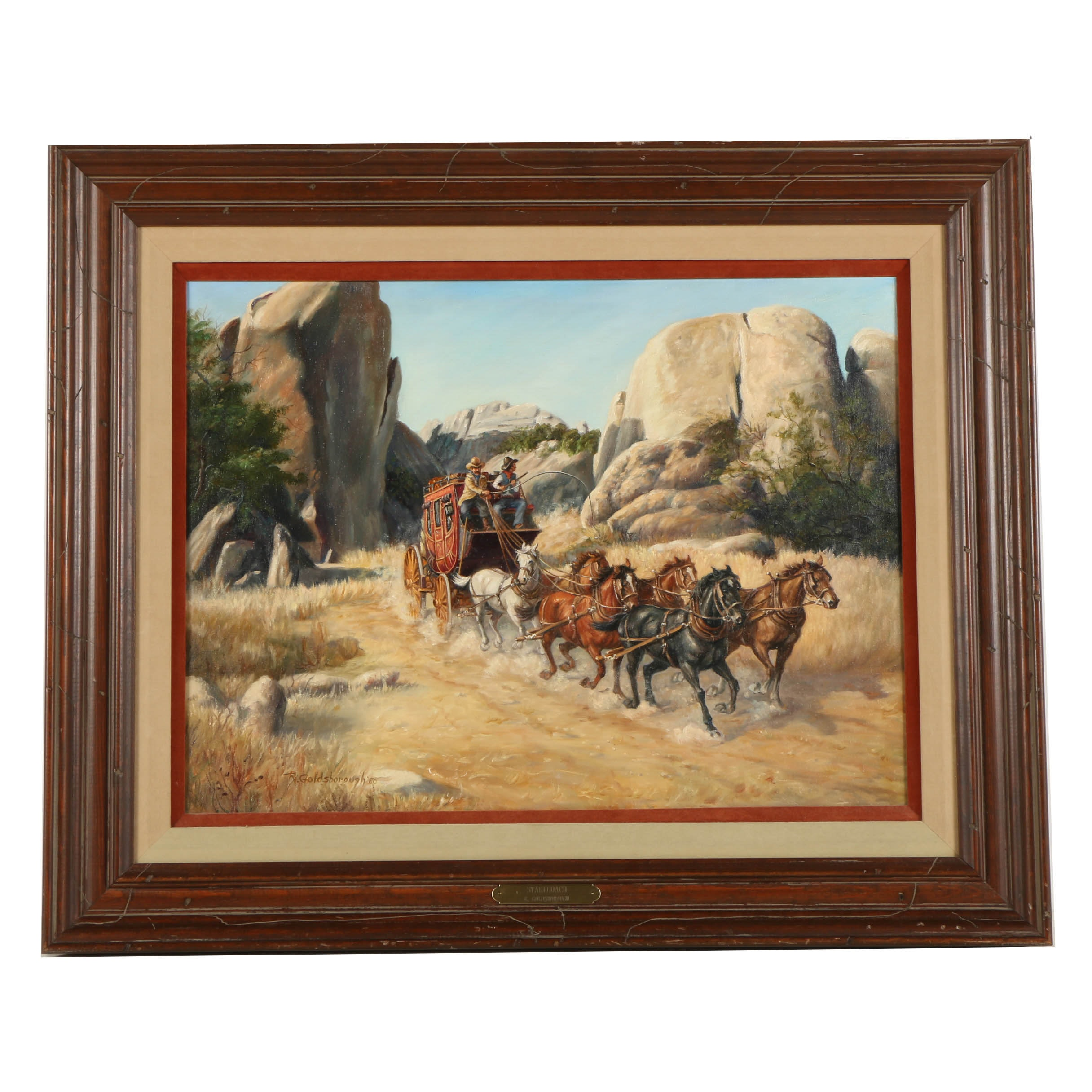 """Ruth Goldsborough Oil Painting on Canvas """"Stagecoach"""""""