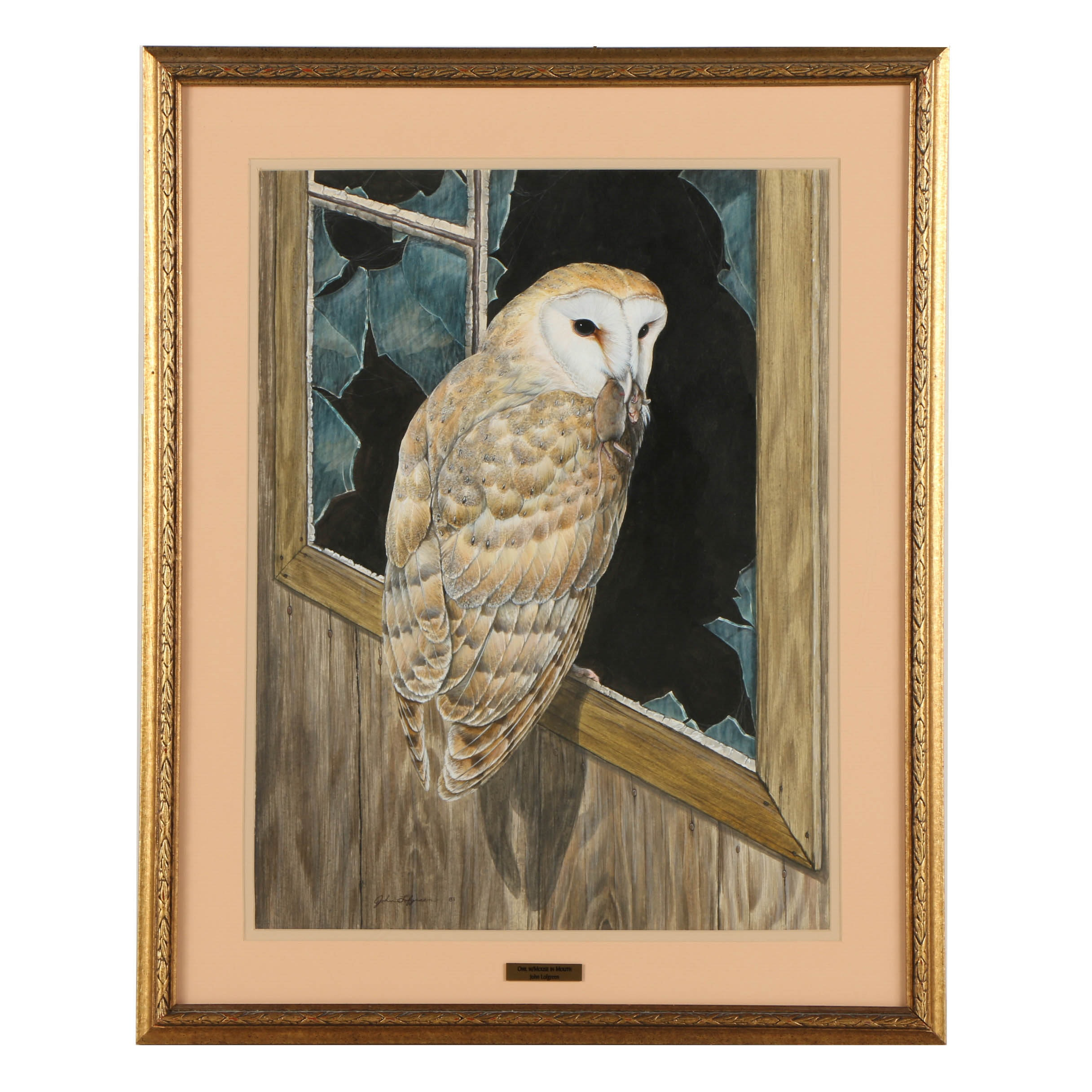 """John Lofgreen Acrylic Painting on Paper """"Owl with Mouse in Mouth"""""""