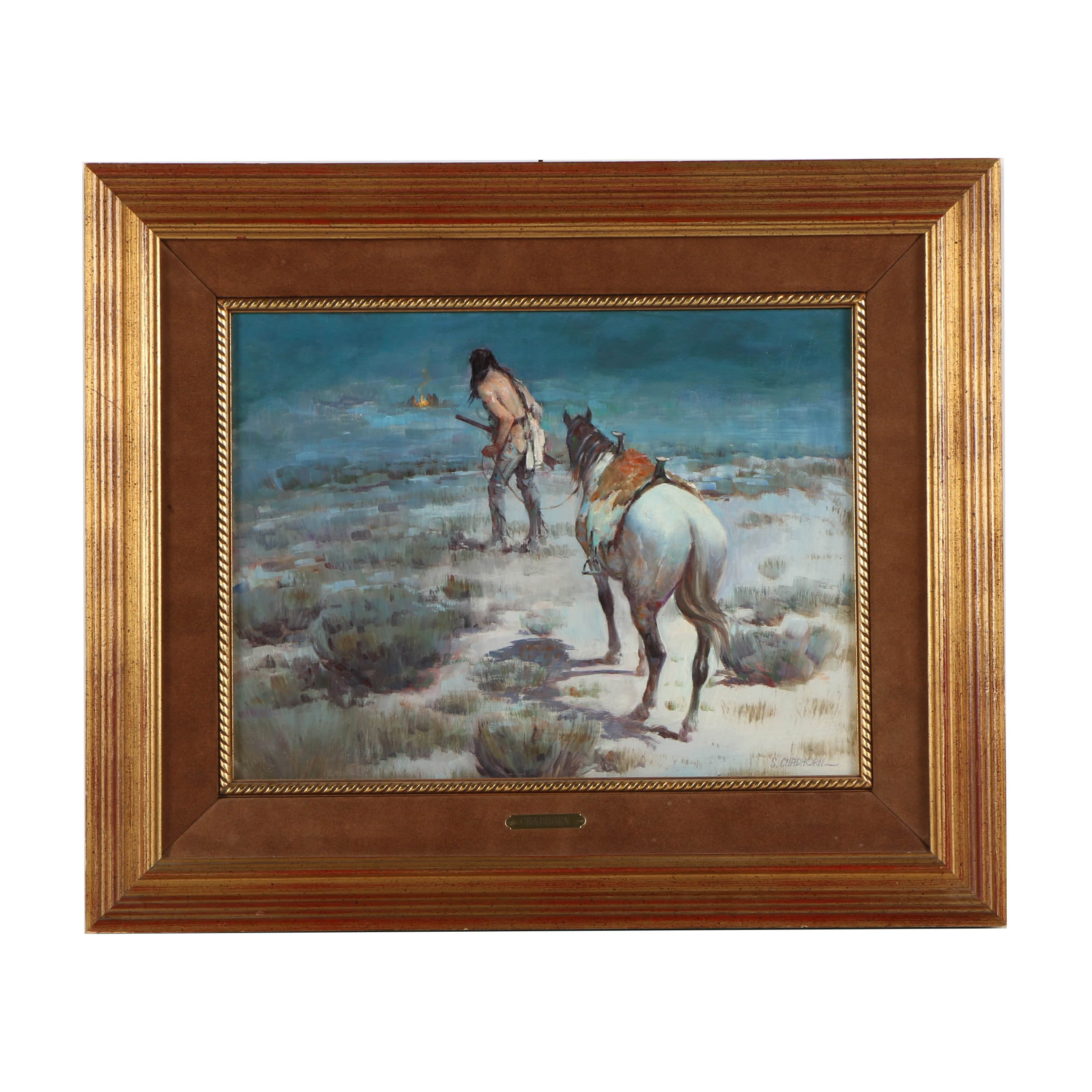 """Shep Chadhorn Oil Painting on Canvas """"Indian & Horse Approaching a Campfire"""""""