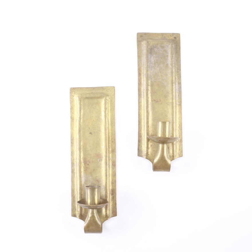Vintage E.T.C. Fish Arts & Crafts Hammered Brass Wall Sconces : EBTH