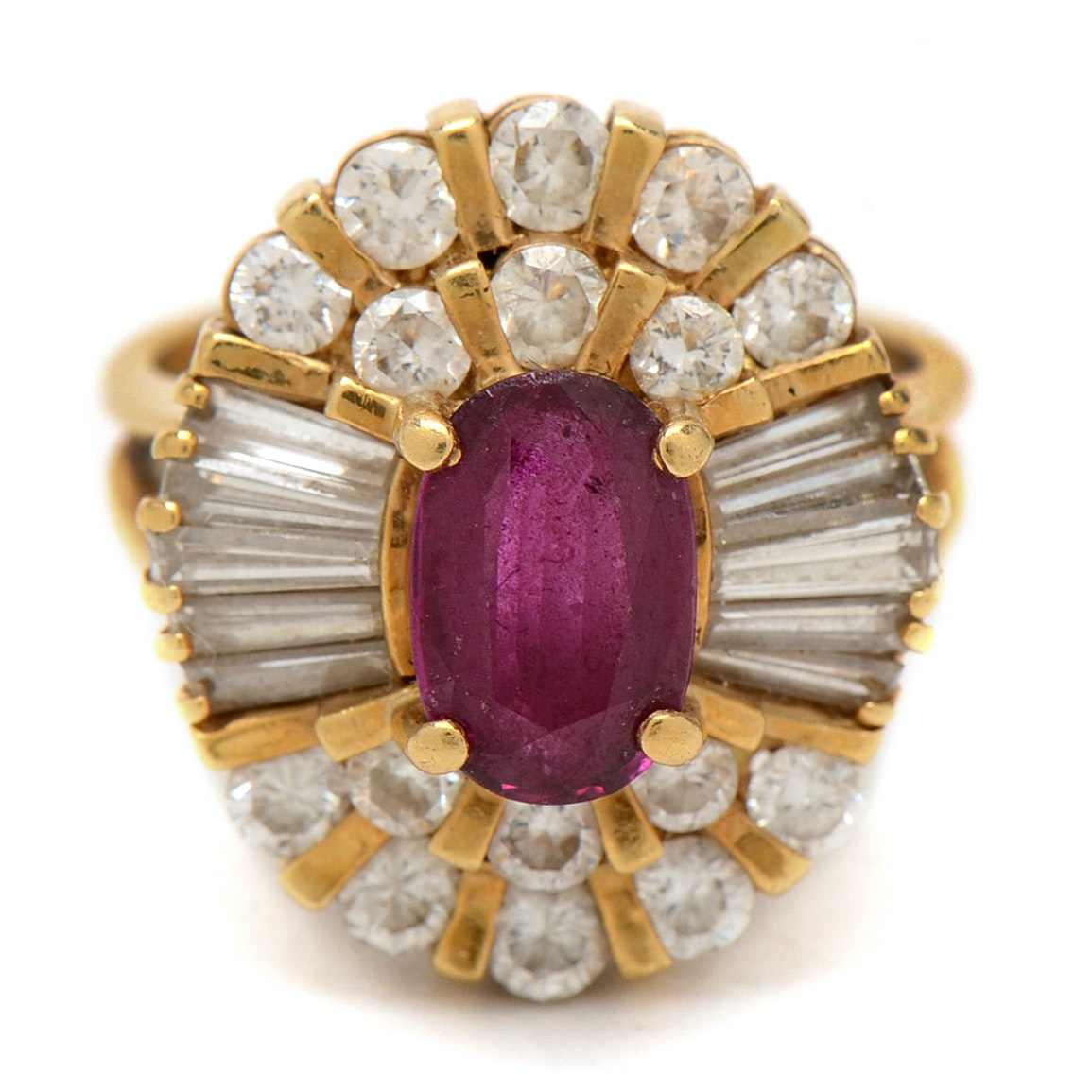 18K Yellow Gold Ruby and 2.00 CTW Diamond Ring