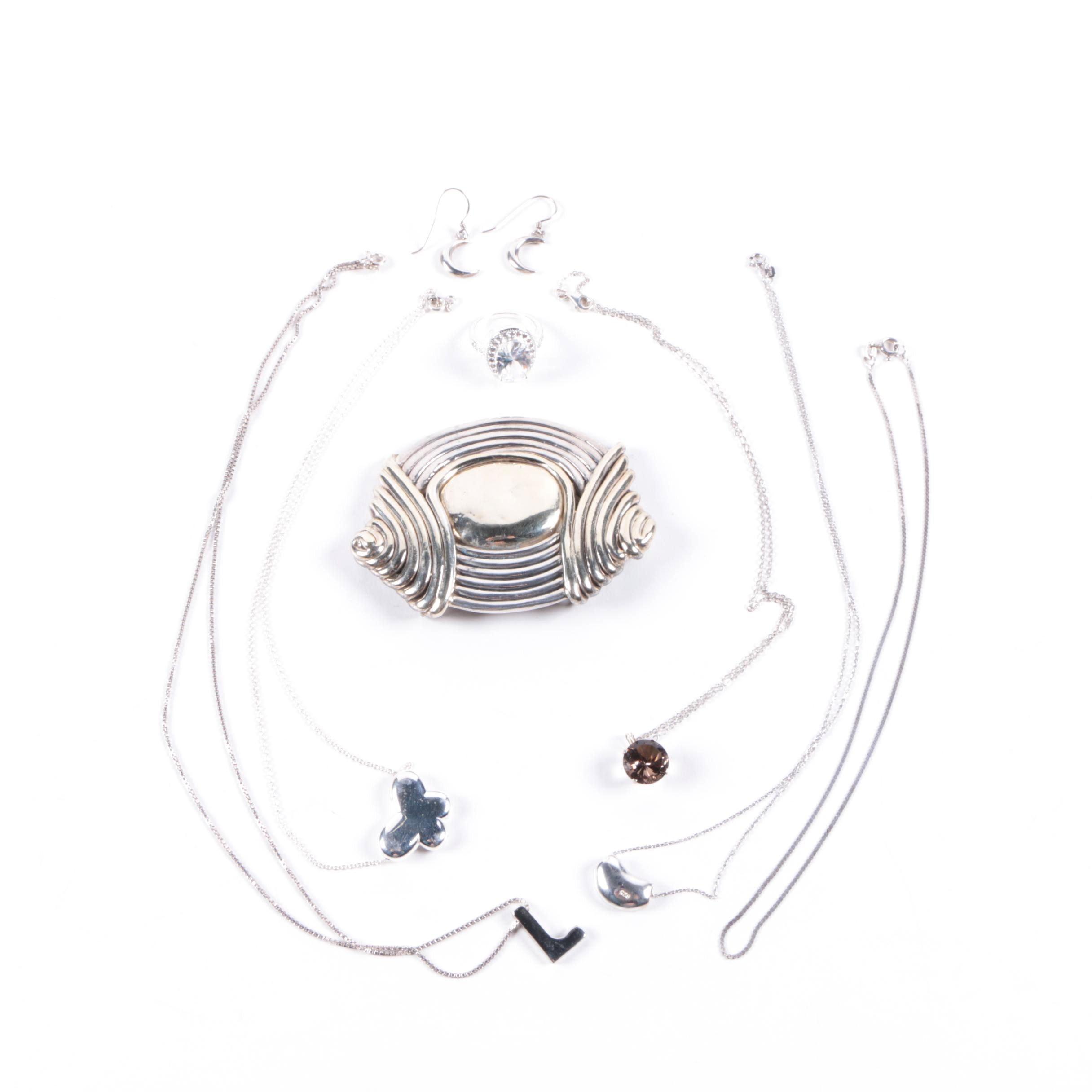 Assorted Sterling Silver Jewelry Including Smoky Quartz