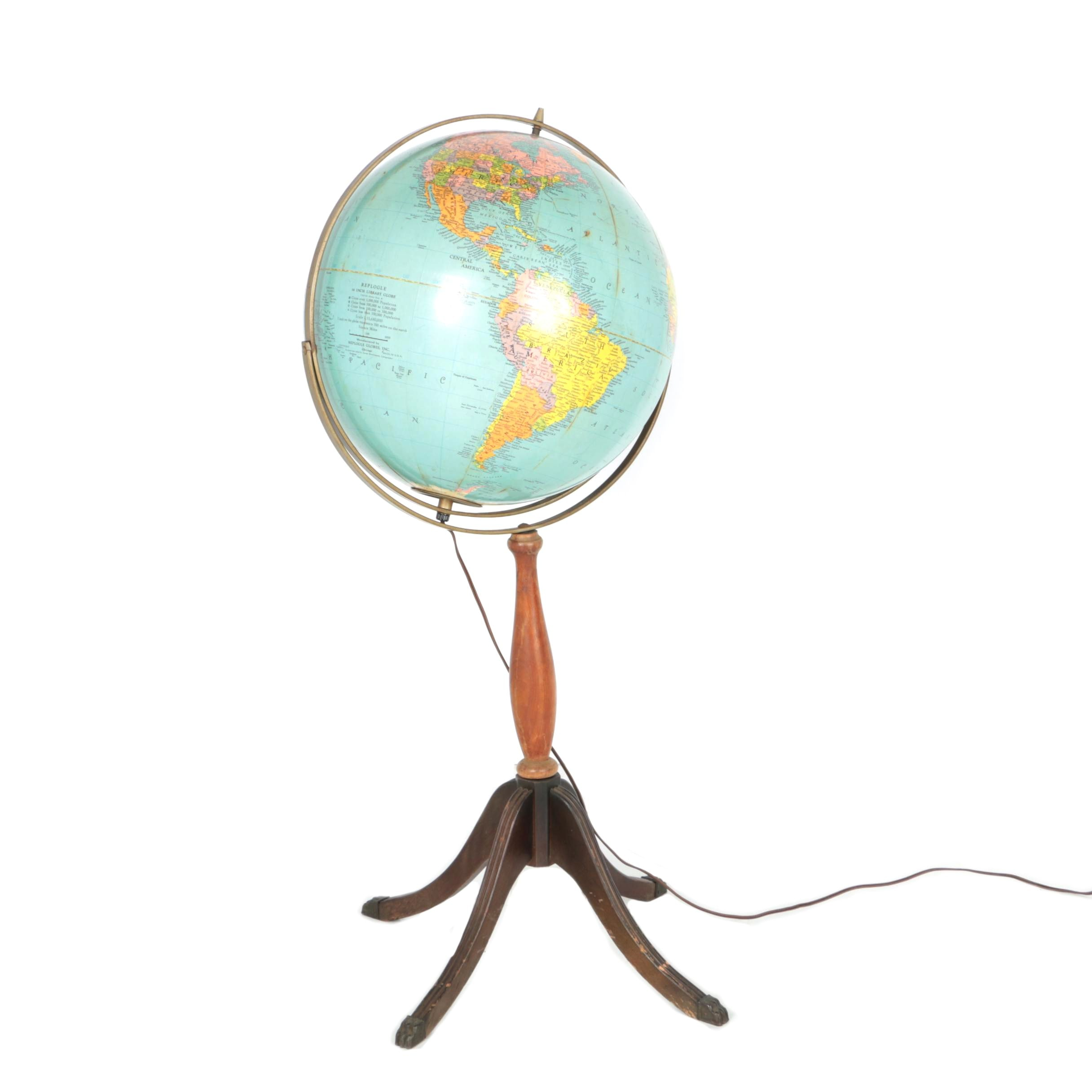 Light Up Globe on Footed Stand