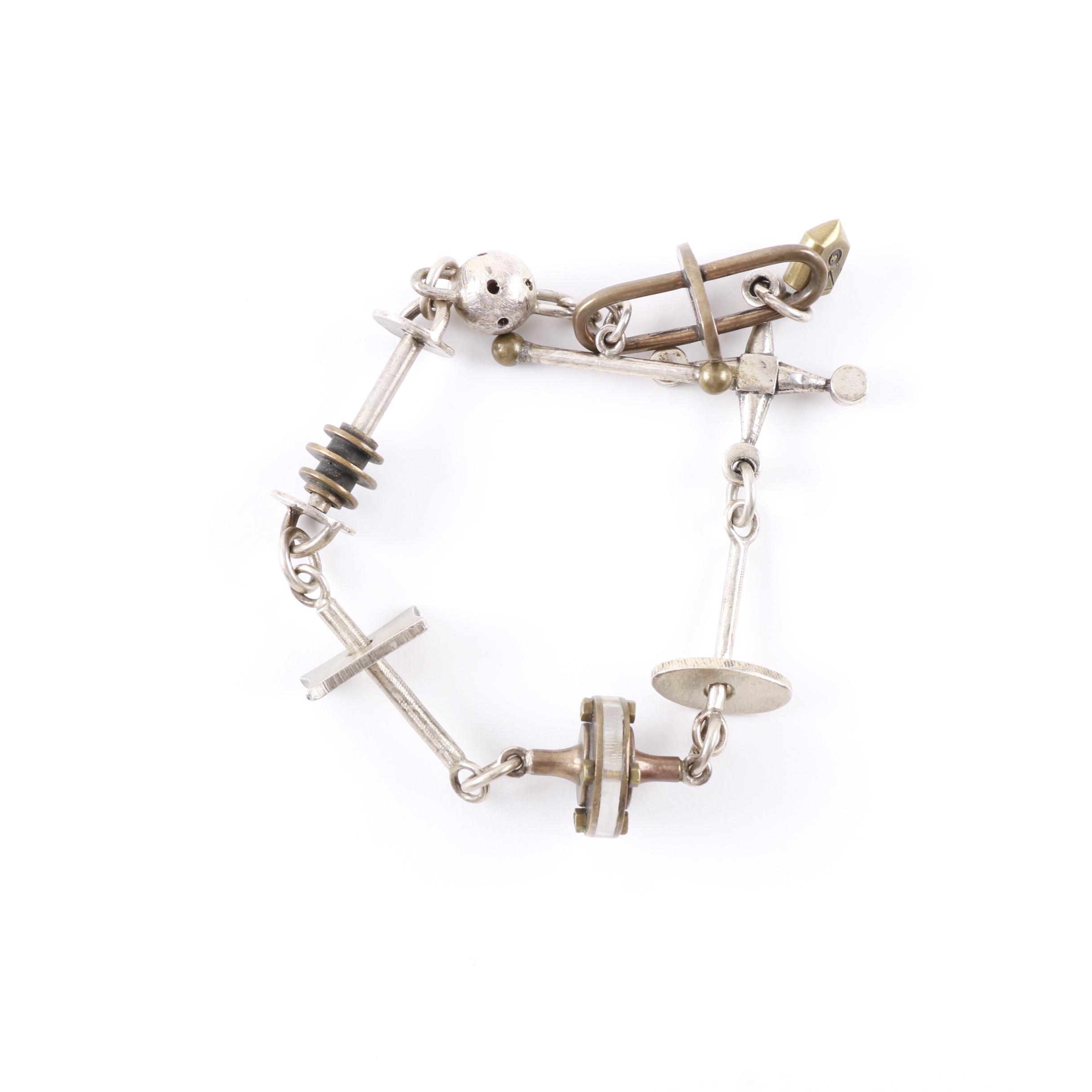 Thomas Mann Constructivist Sterling Silver Collage Bracelet