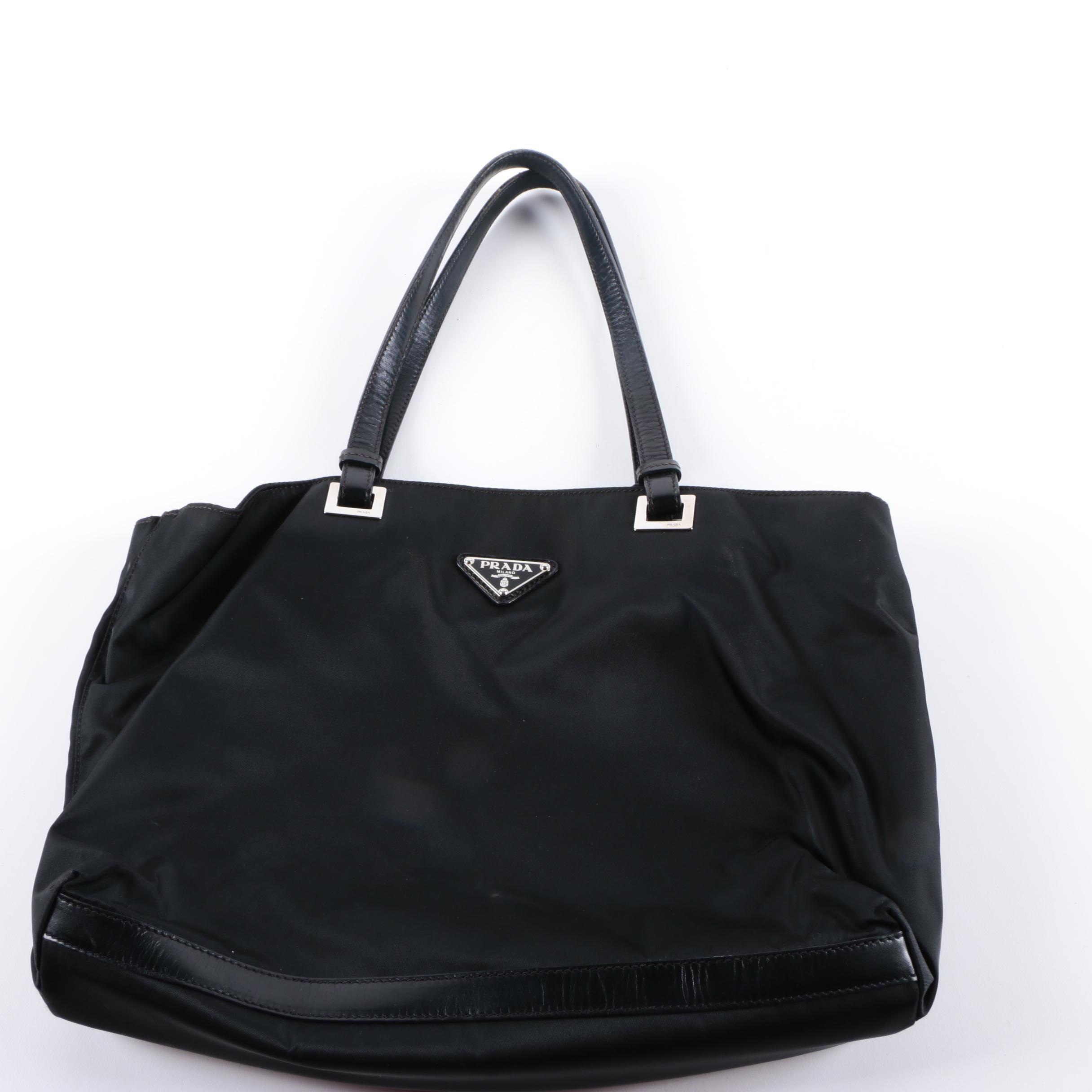 Prada Black Nylon and Leather Tote Bag