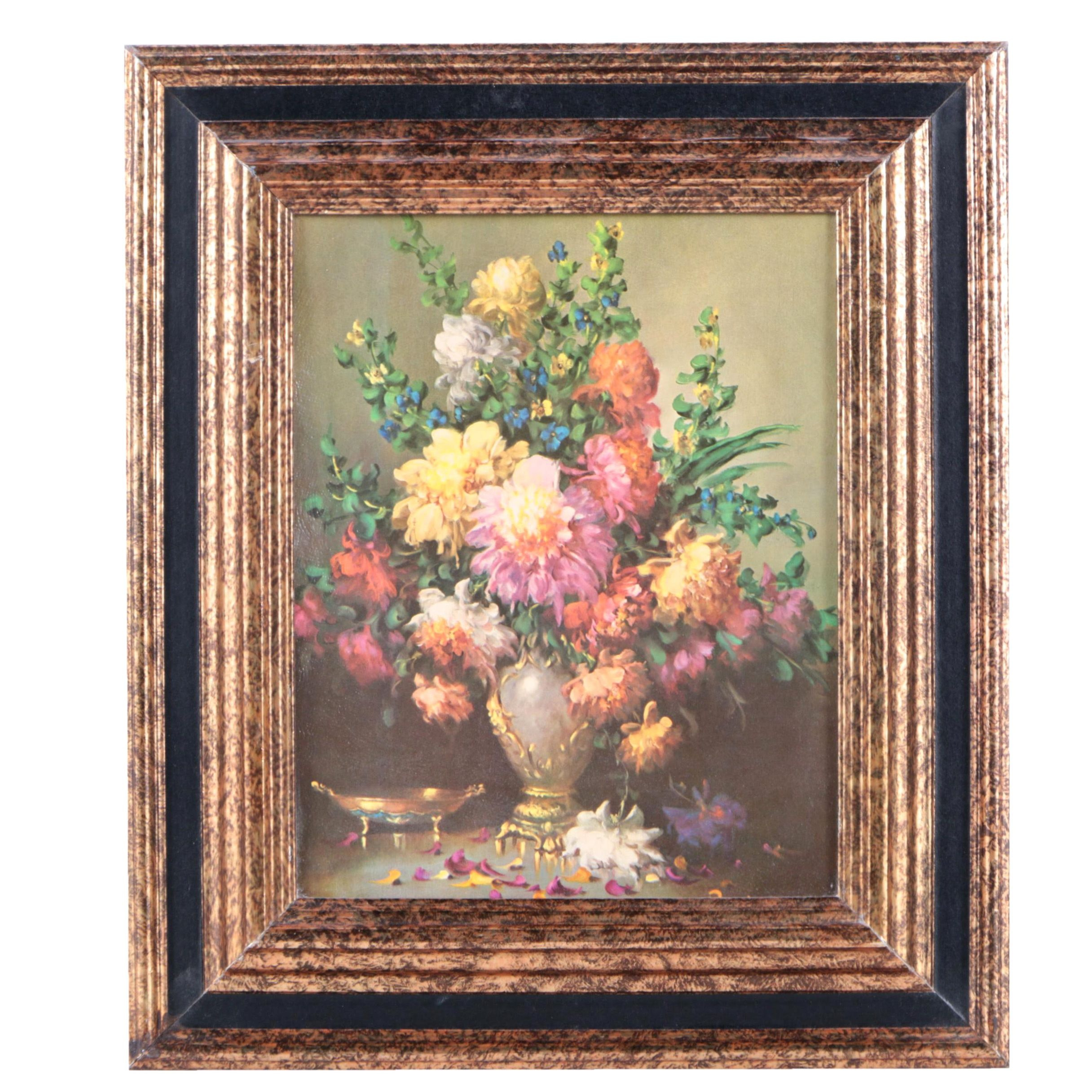 Vintage Turner Wall Accessory Offset Lithograph of a Floral Still Life