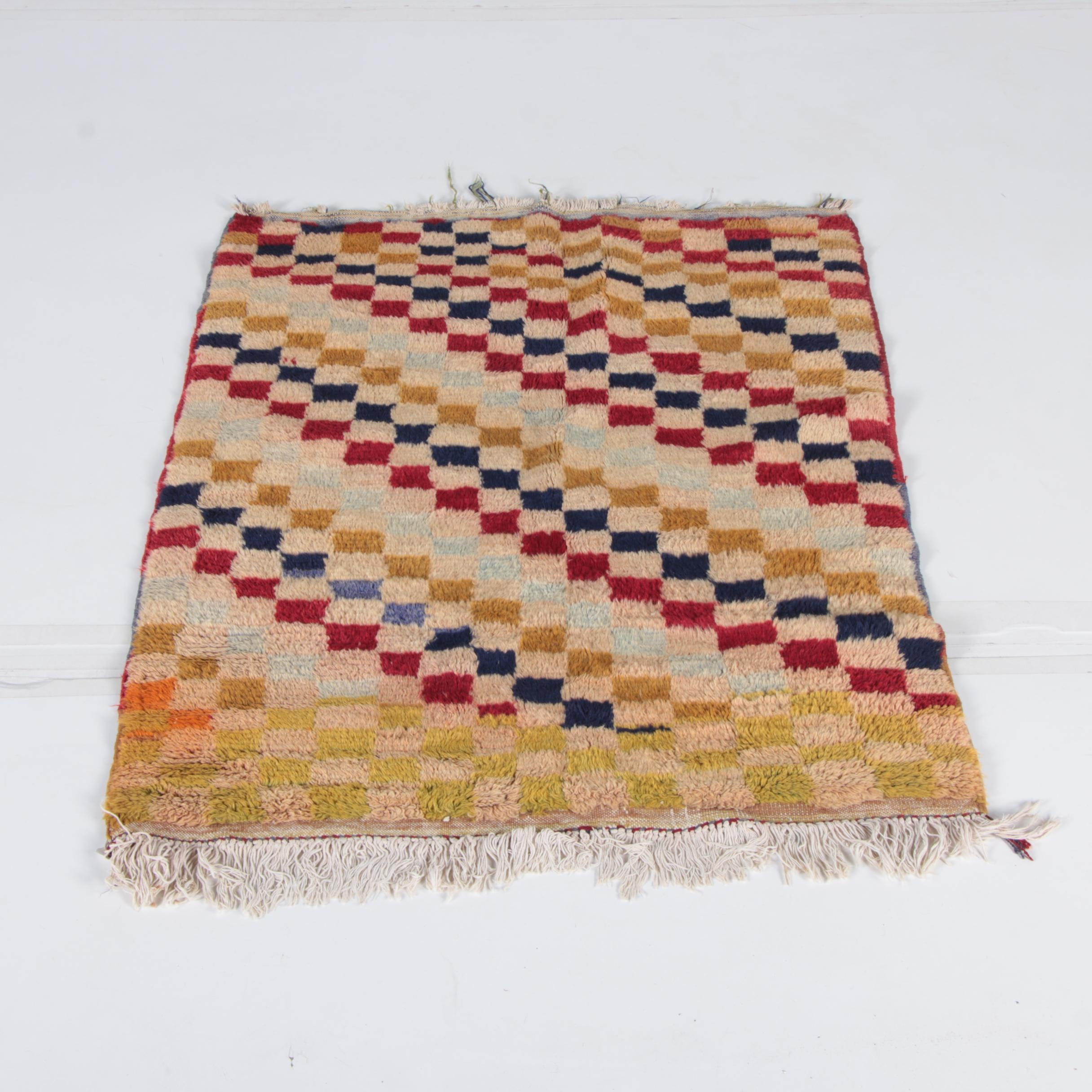 Hand-Knotted Turkish Tulu Wool Accent Rug