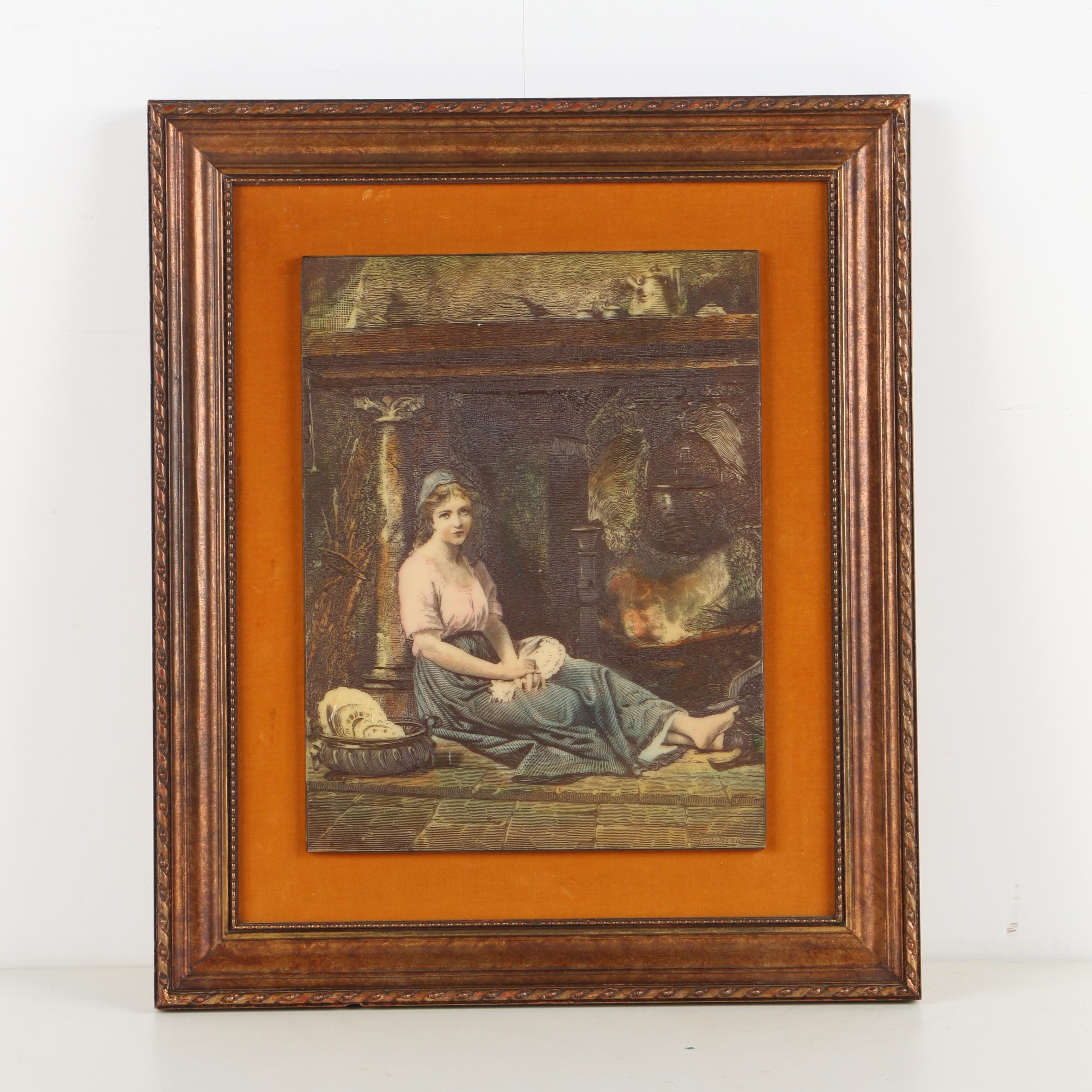 Artini Hand-Painted Resin Engraving of a Seated Woman