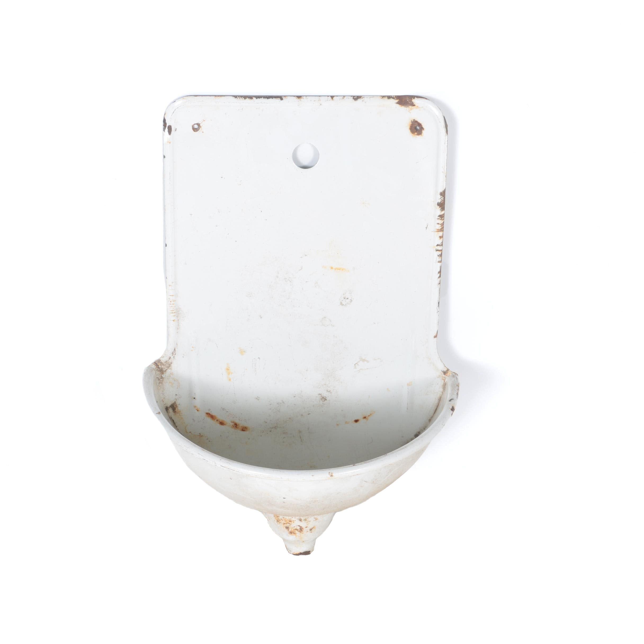 Vintage French Porcelain Enameled Wall Sink