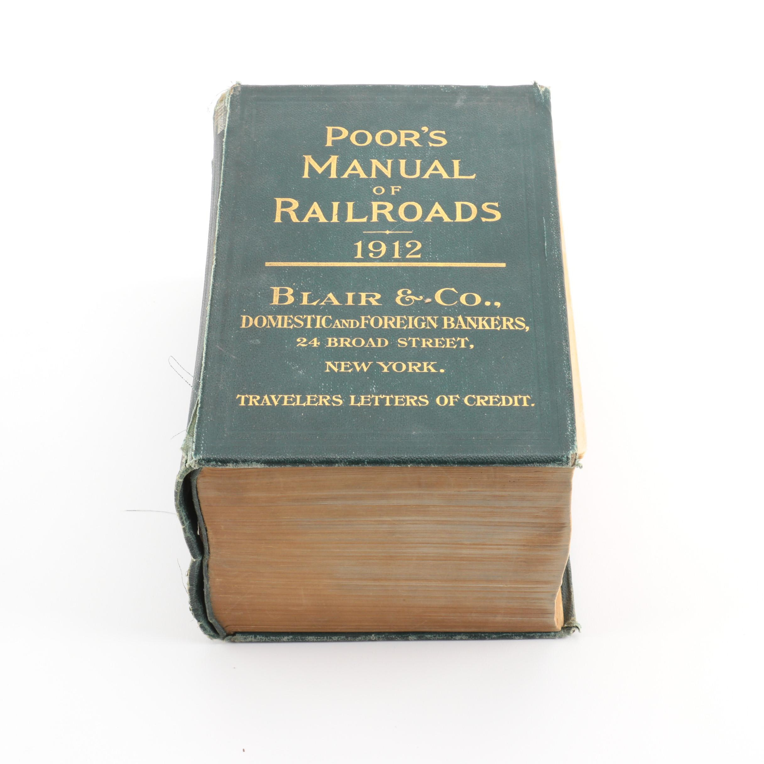 """1912 """"Poor's Manual of the Railroads of the United States"""""""
