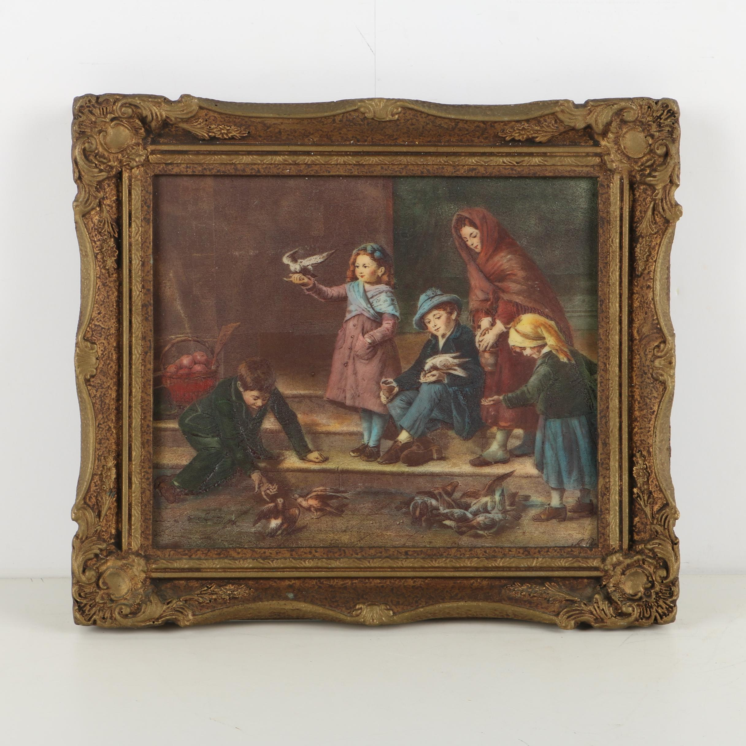 Artini Hand-Painted Resin Engraving of an Outdoor Scene