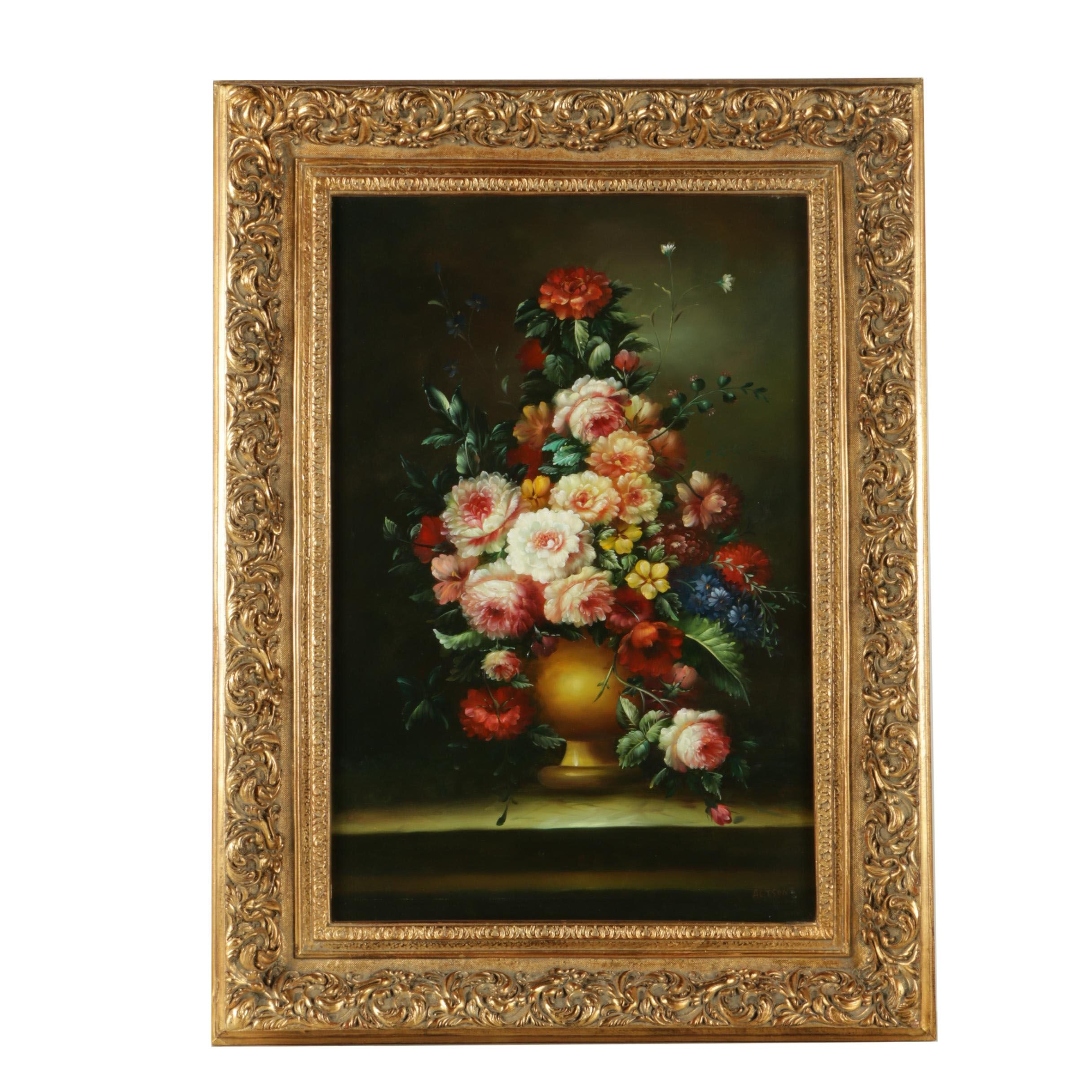 Altson Oil Painting on Canvas of Still Life with Floral Bouquet