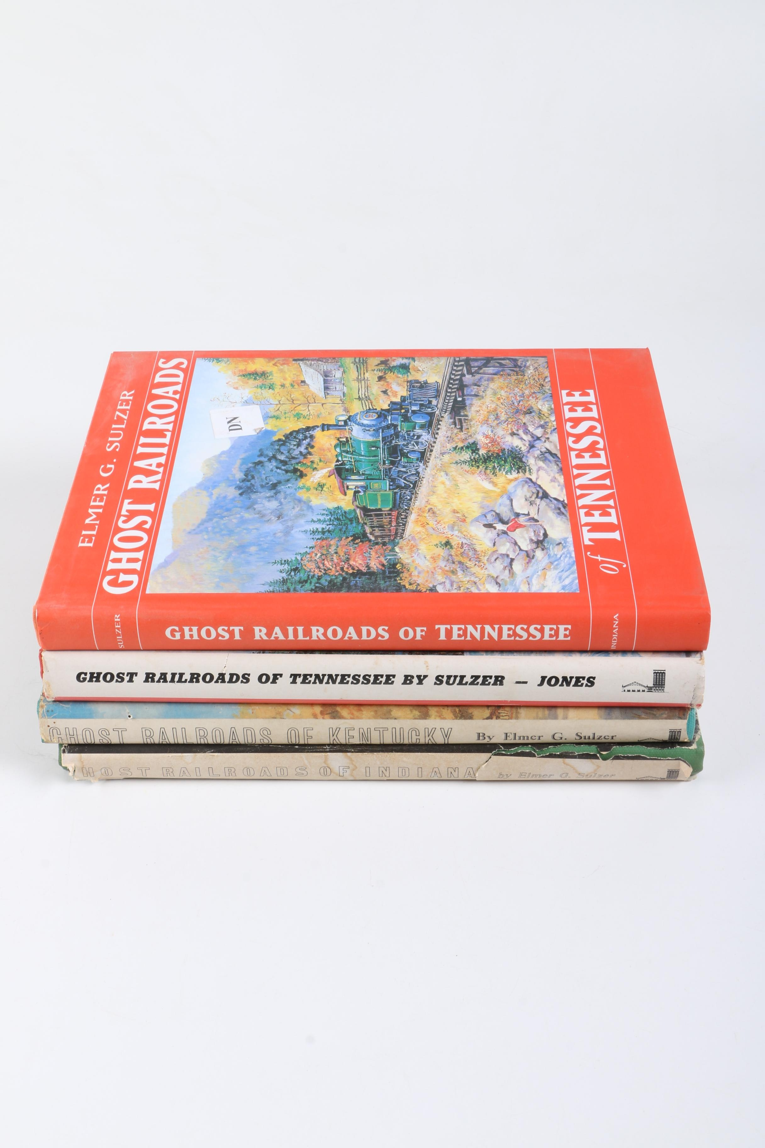 Assorted Hardcover Books on Trains by Elmer G. Sulzer