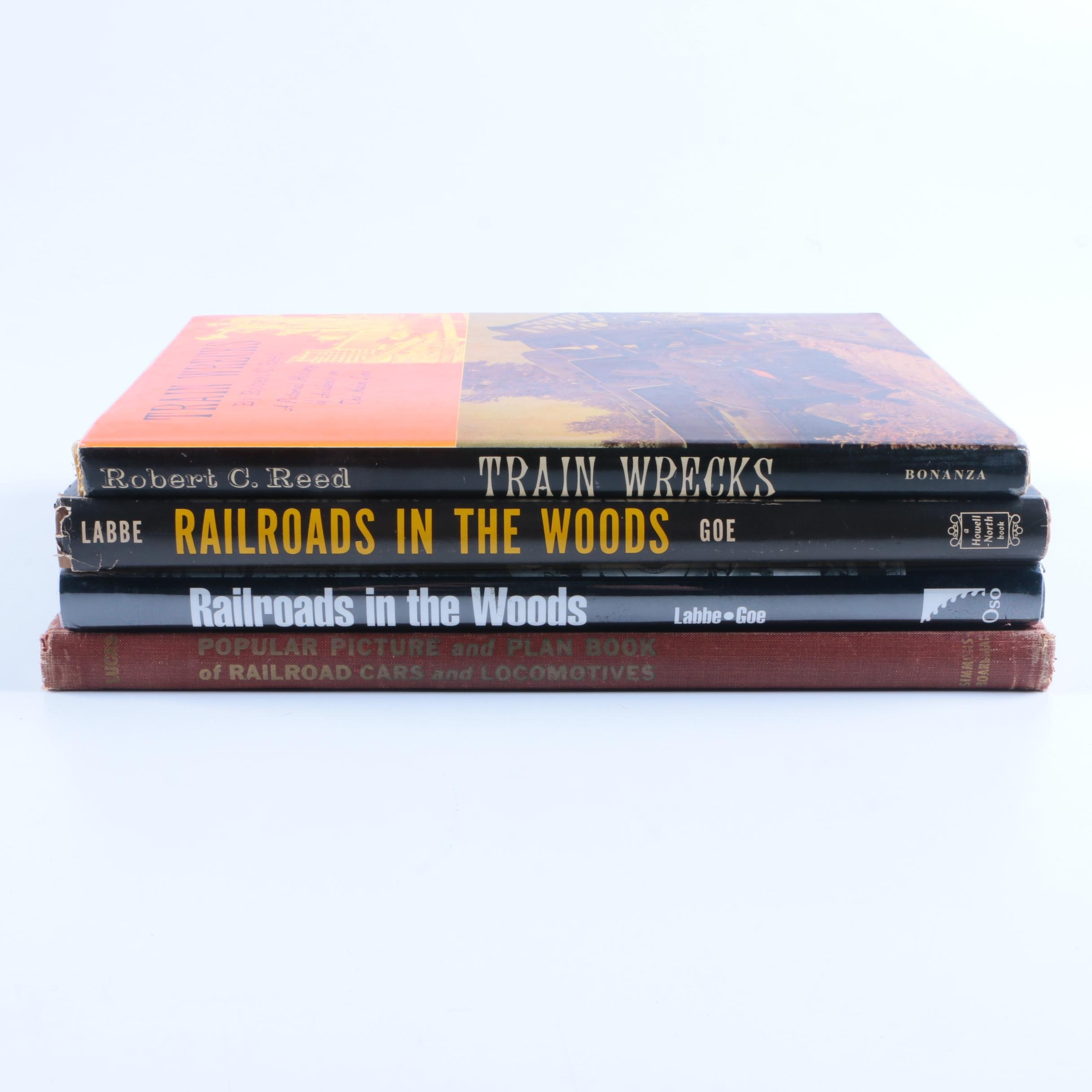 """Assorted Hardcover Books on Trains including """"Train Wrecks"""""""