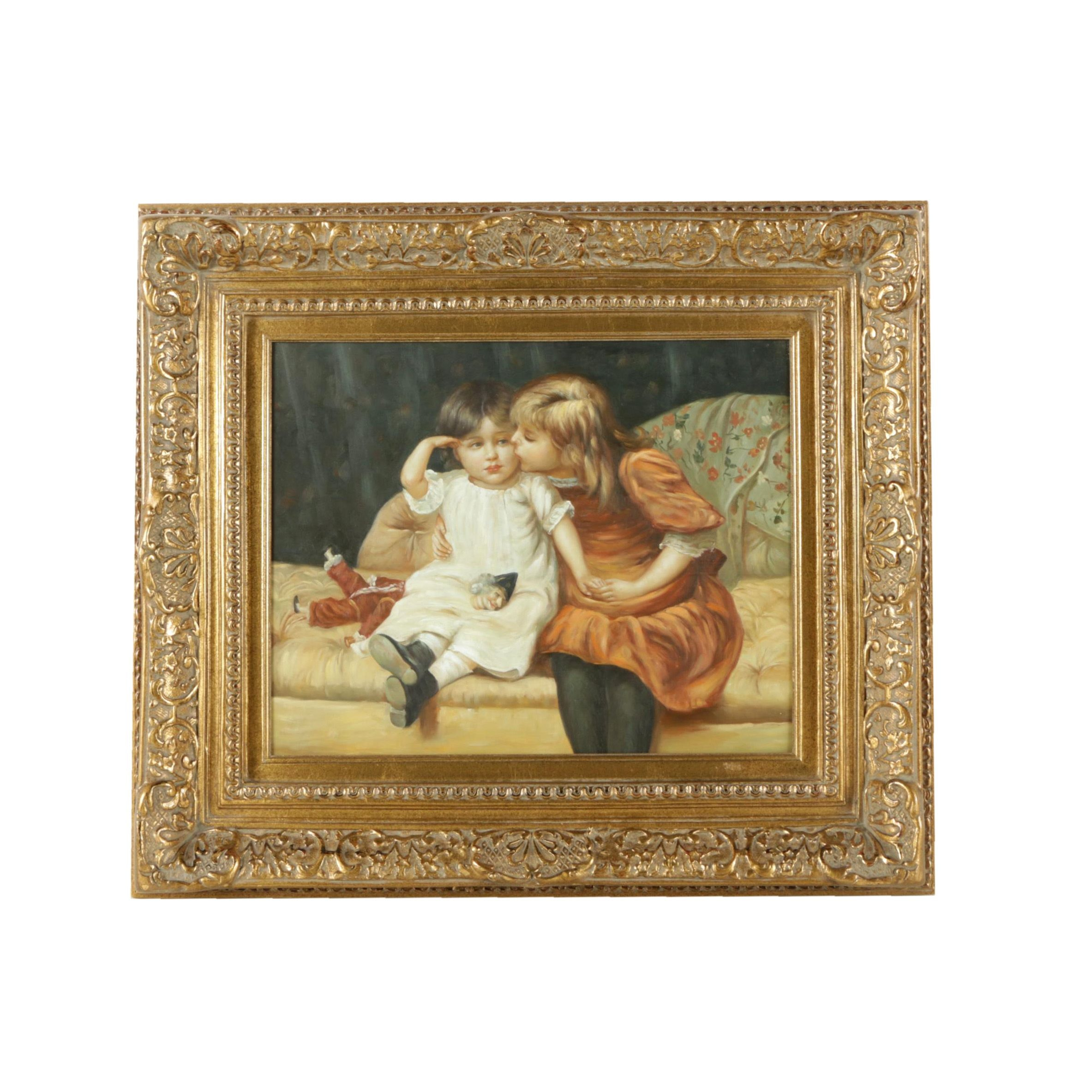 "Oil Copy Painting on Canvas After Frederick Morgan ""The Consolation"""