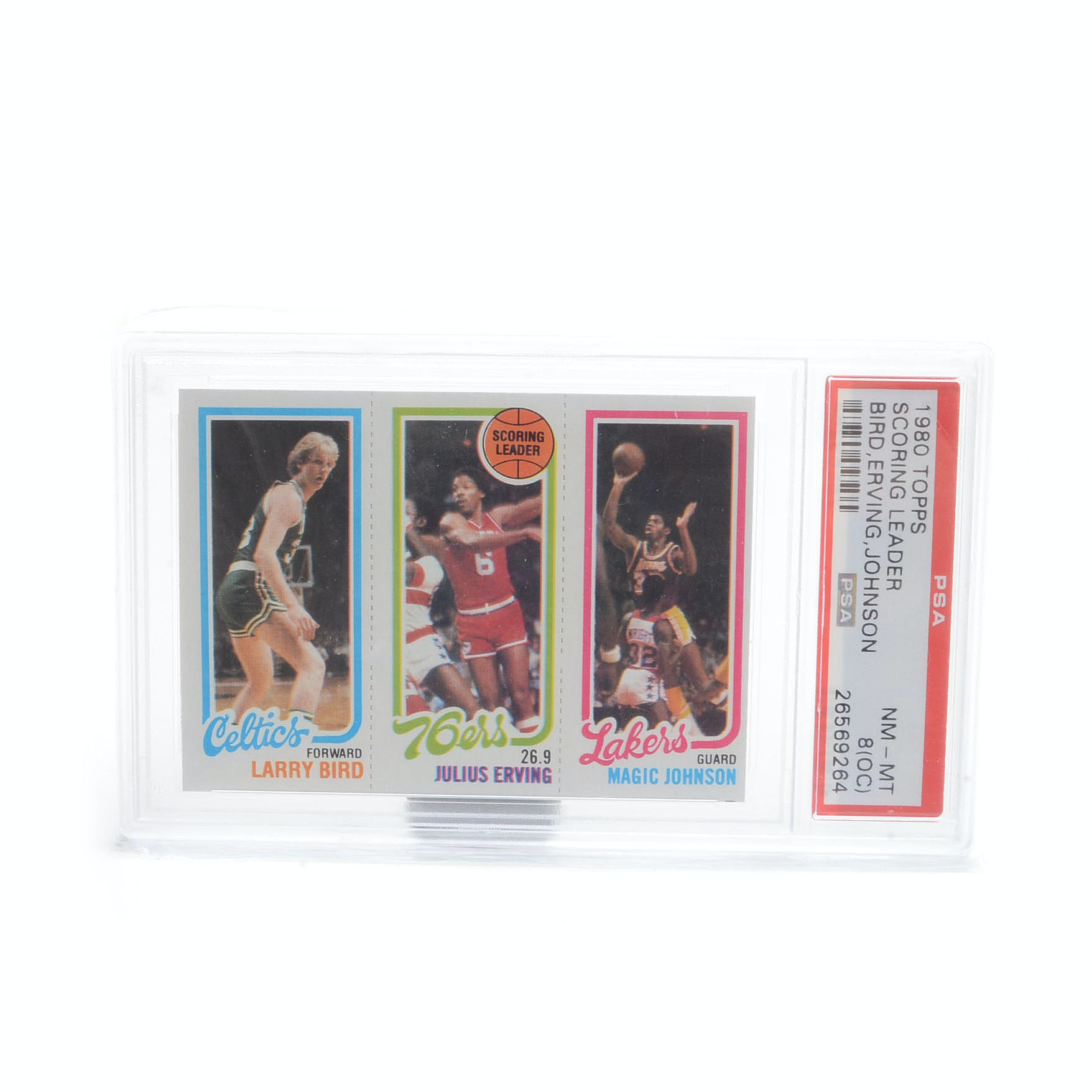 1980 NBA Topps Bird, Erviing, and Johnson PSA Graded Card
