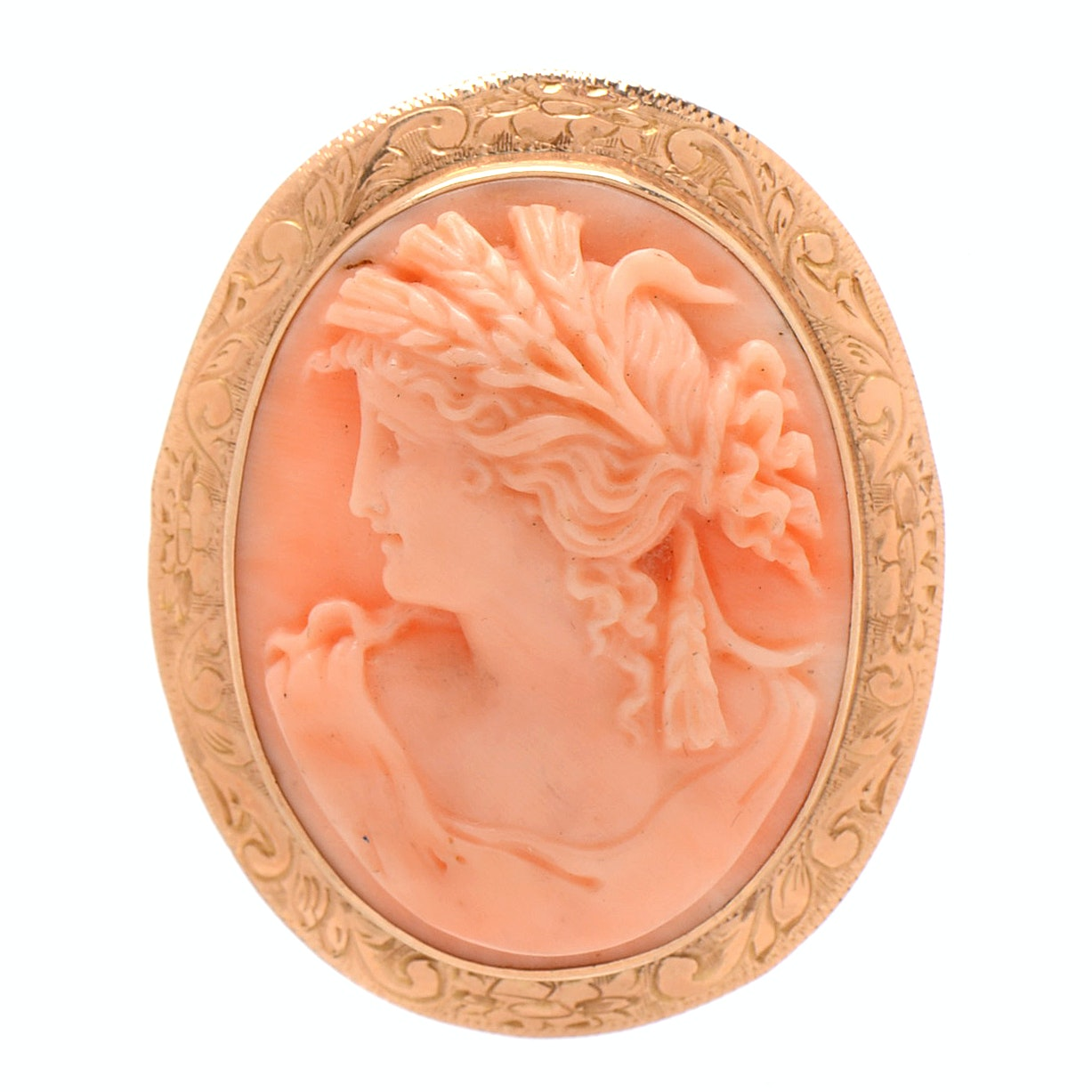 Vintage 1920s 14K Yellow Gold Pale Pink Coral Cameo
