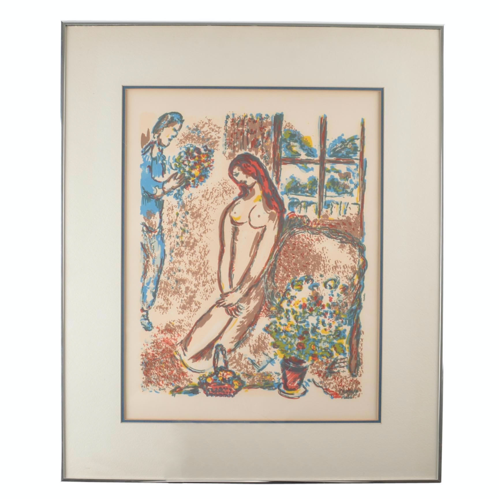 "Serigraph on Paper After Marc Chagall ""Love and Flowers"" With COA"