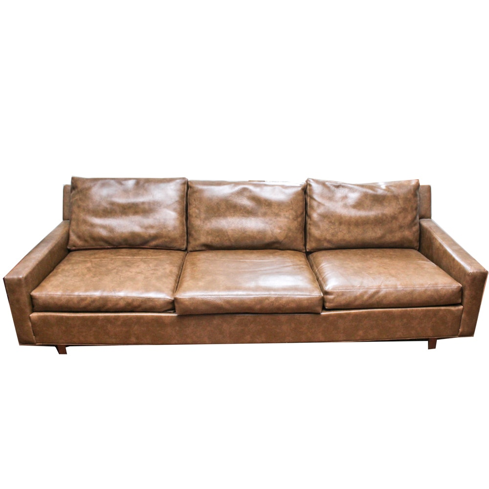 Mid Century Modern Brown Vinyl Sofa by Thayer Coggin Inc.