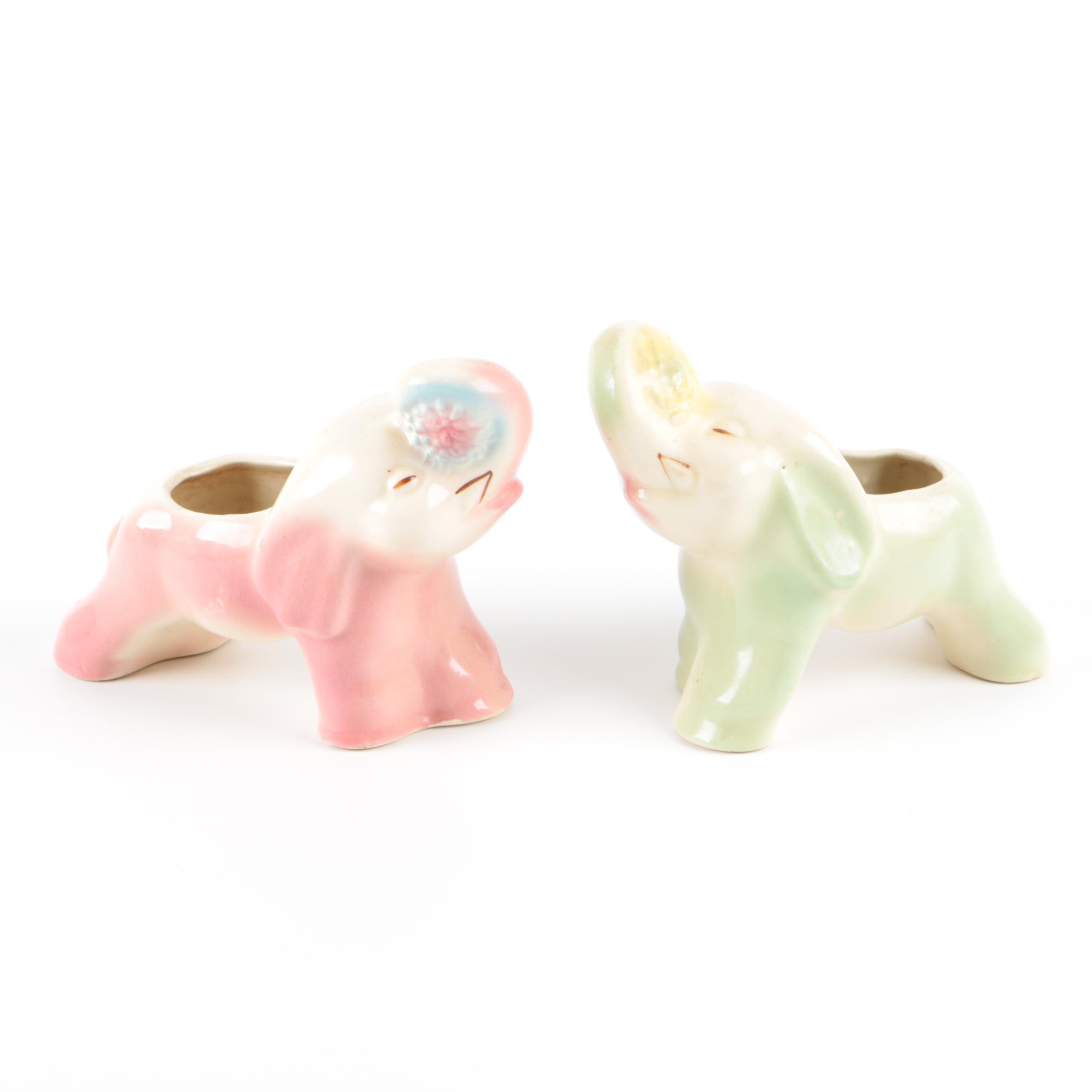 Vintage Ceramic Elephant Figurine Planters