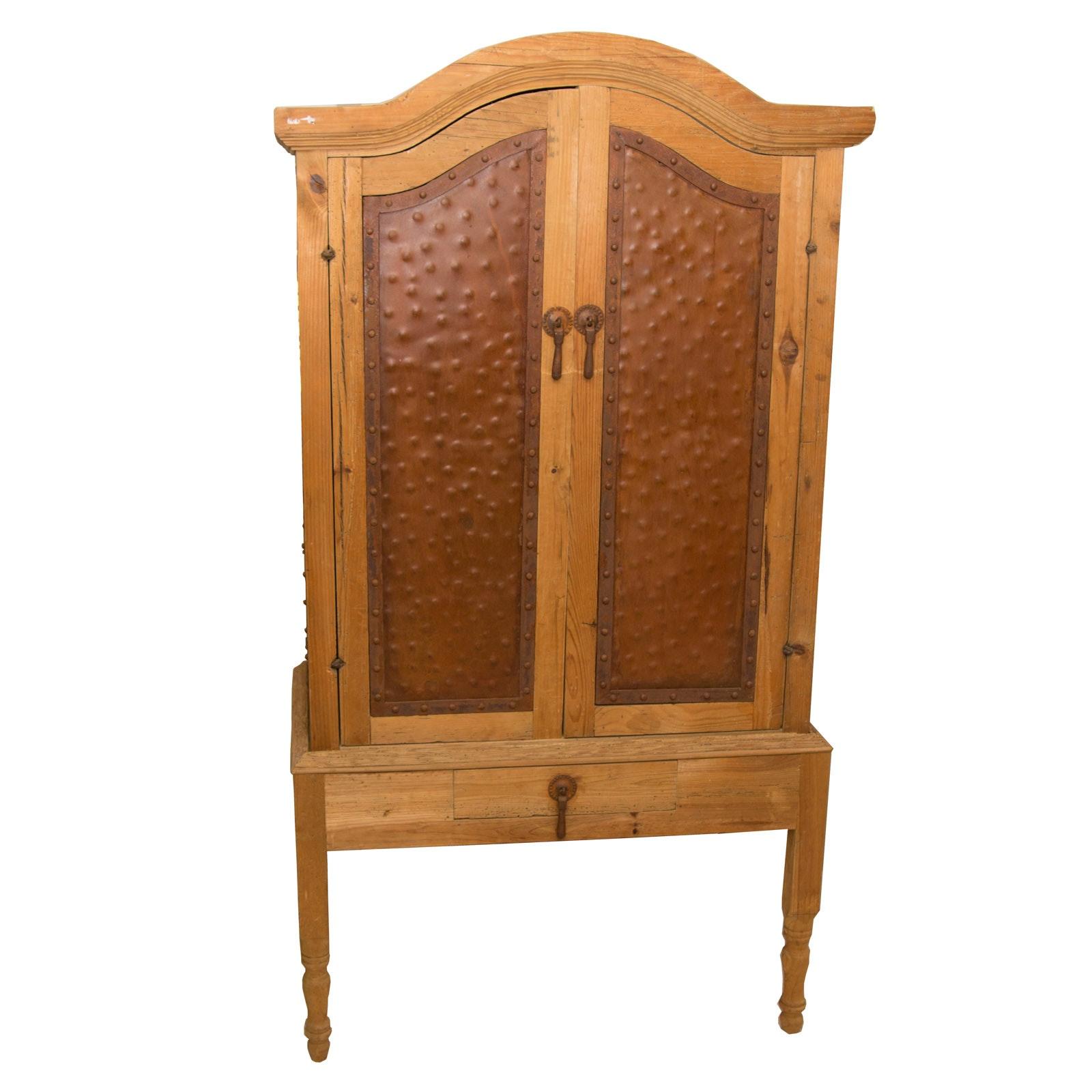 Rustic Handmade Oak and Metal Cabinet