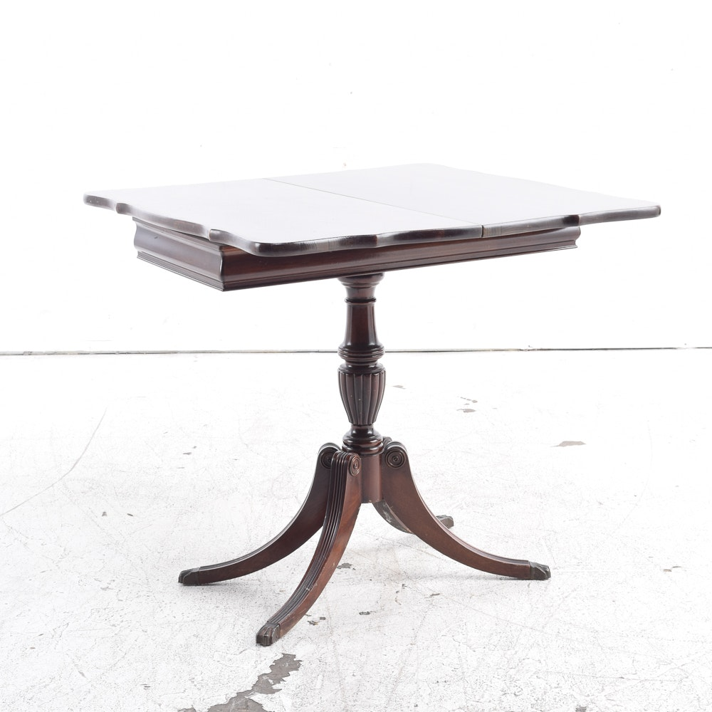 Circa 1940s Duncan Phyfe Style Mahogany Flip-Top Game Table by Brandt Furniture